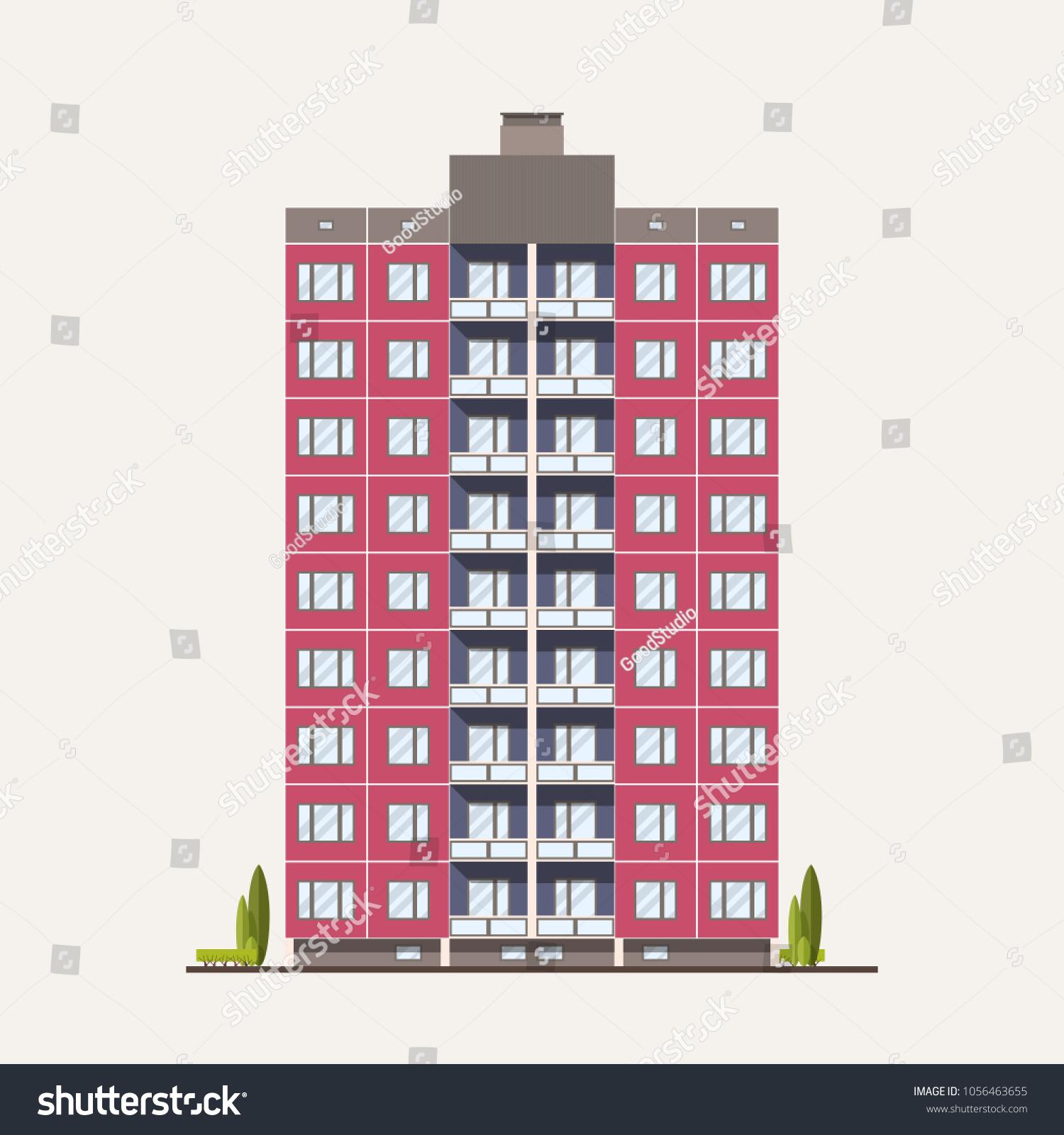 Modern Pink Prefabricated Panel Building Built Stock Vector (Royalty ...