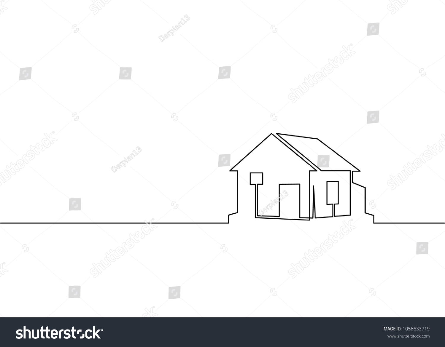 Single Line Text Art : One line logo design real estate stock vector
