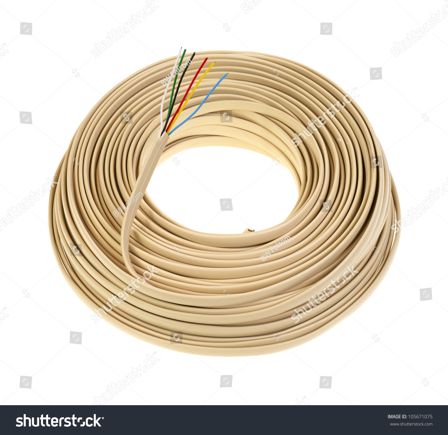 Large Coil Generic Telephone Wire Showing Stock Photo Edit Now Wiring Black White Yellow A Of The Red Blue Green And
