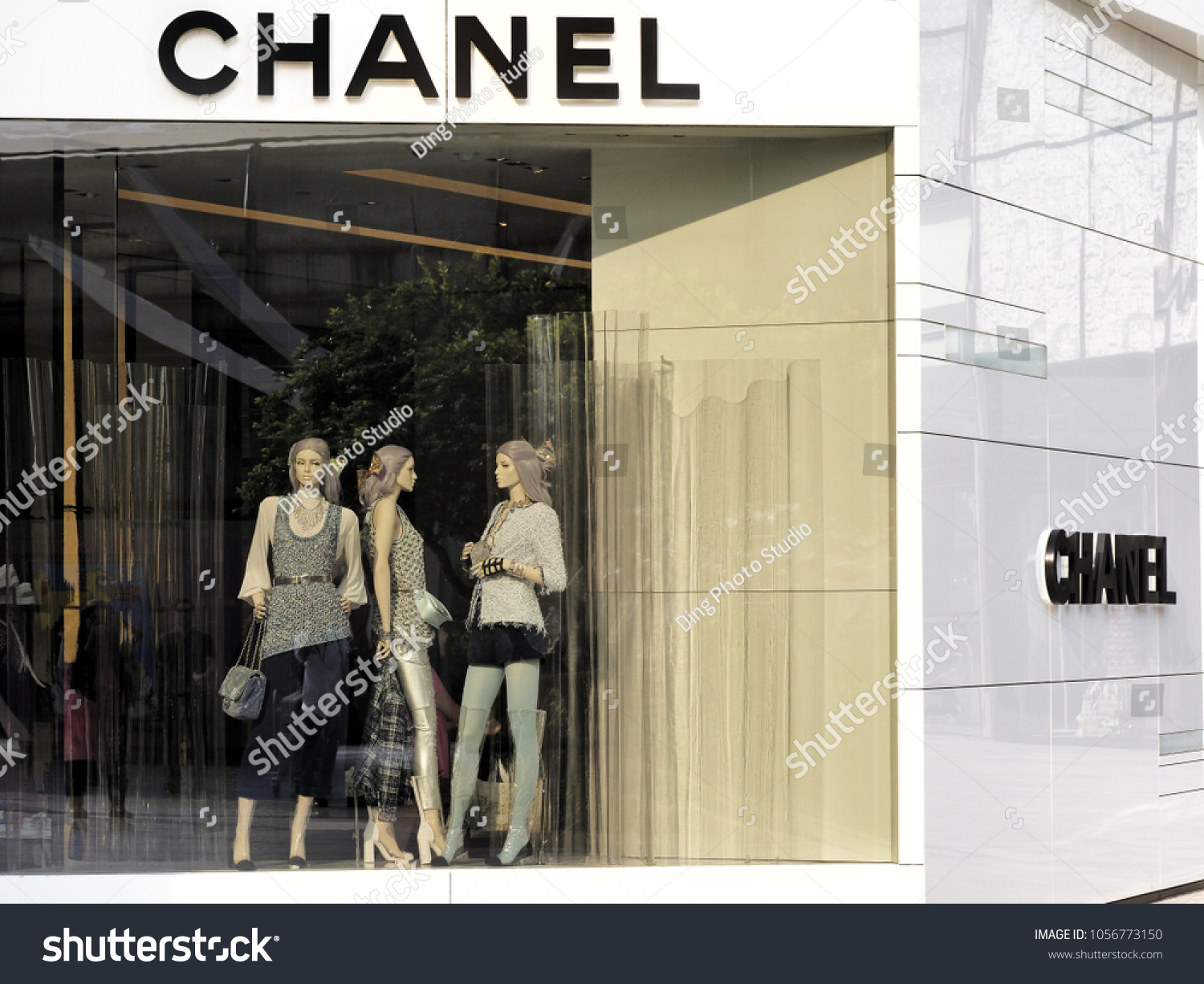 4b2695b3725f Chanel Boutique store front window display at the Emquartier Department  store on 26 March 2018 Bangkok Thailand - Image