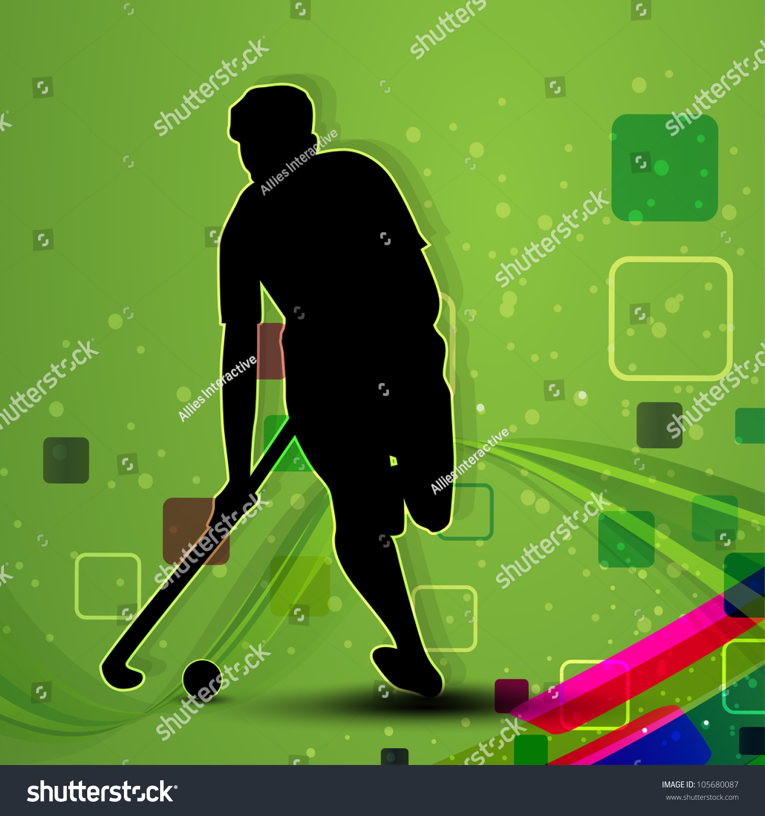 Silhouette Of A Hockey Player With Hockey Stick And Ball