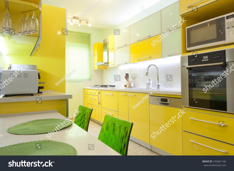 Modern Design Kitchen Yellow Green Elements Stock Photo 105681146 Shutterstock