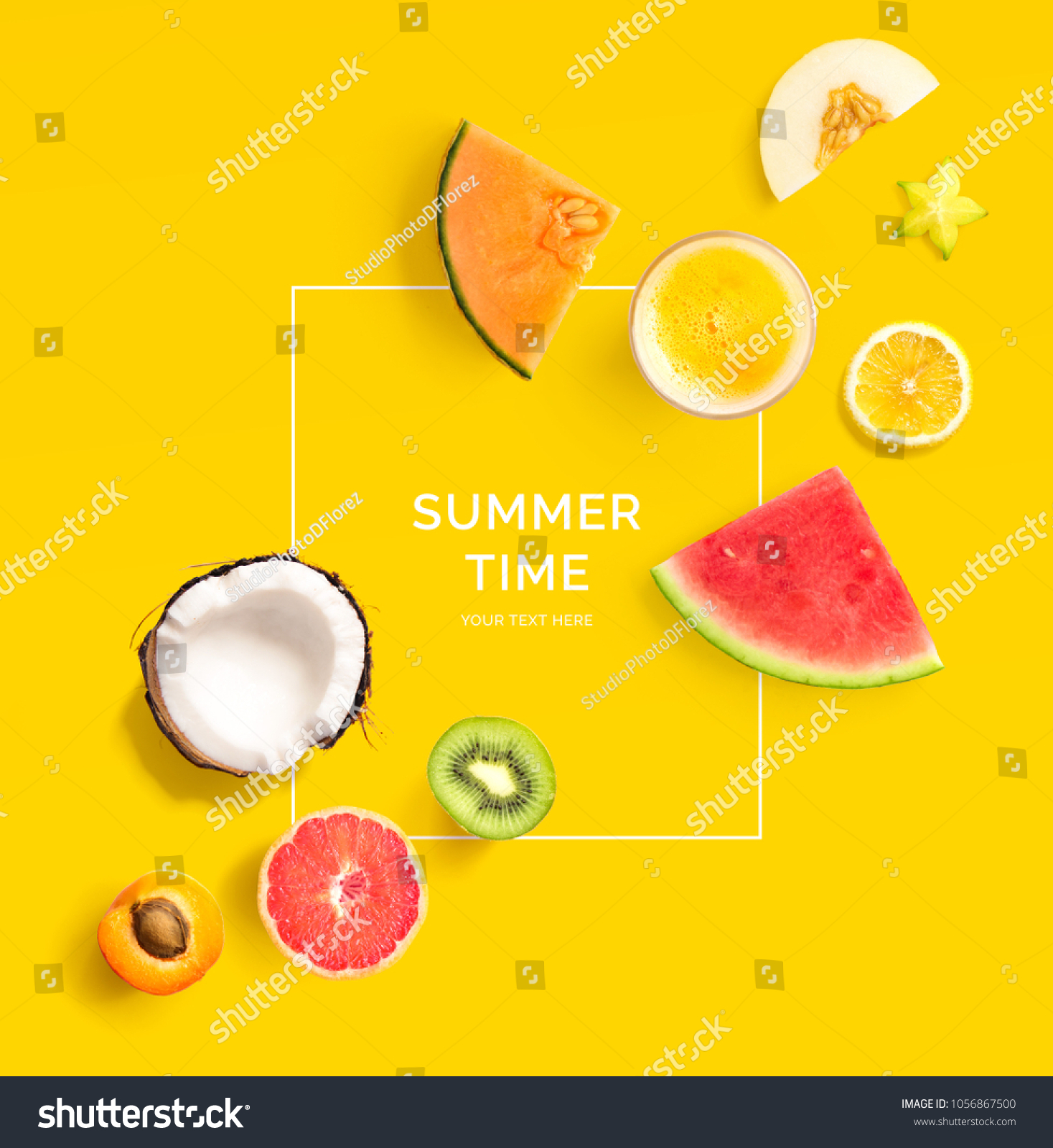 Creative layout made of summer fruits.  Tropical flat lay. Food concept. Melon, coconut, watermelon, kiwi, apricot, lemon and orange juice on yellow background. #1056867500 - 123PhotoFree.com