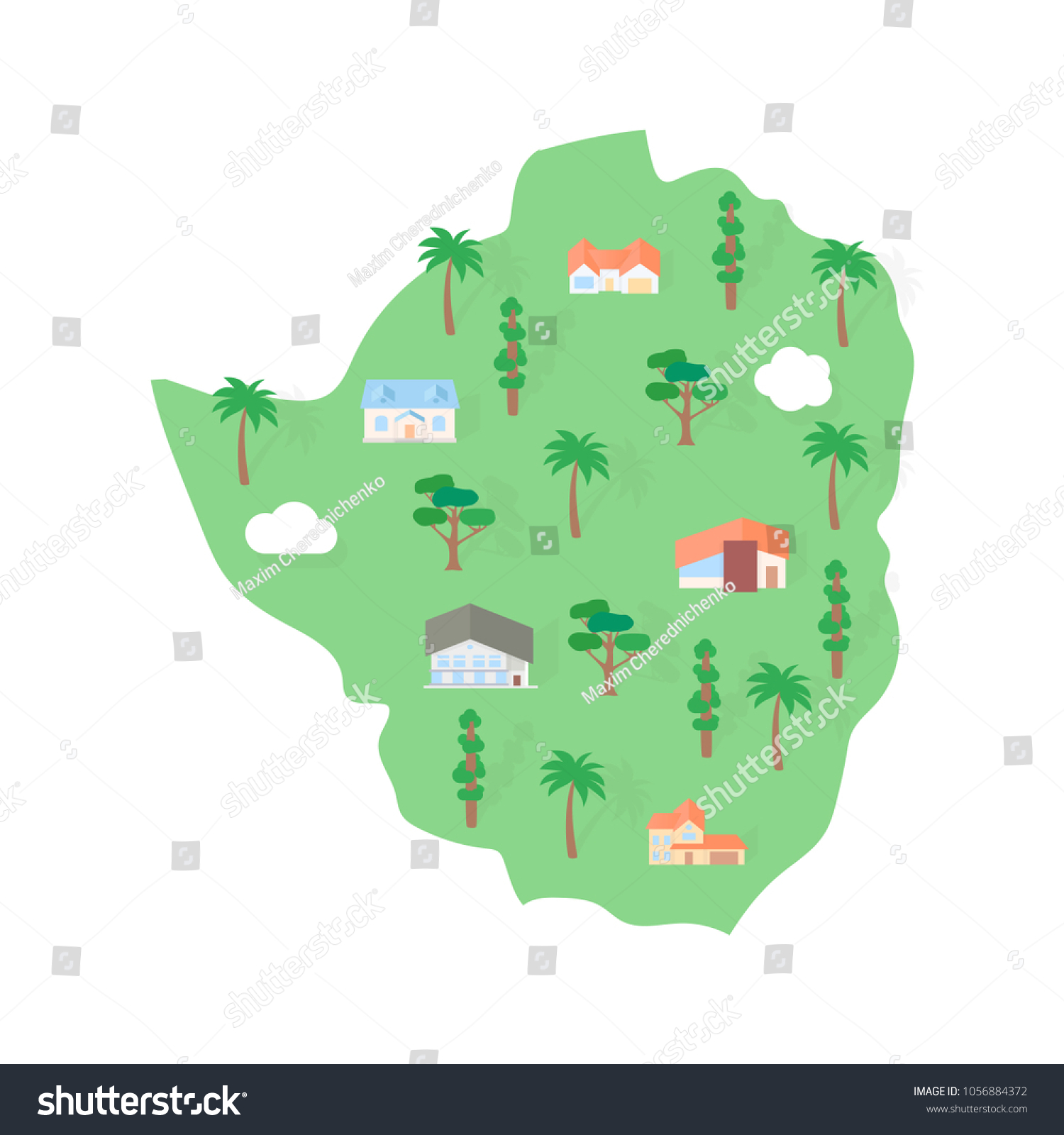 Map Of Africa Showing Zimbabwe.Zimbabwe African Map Real Estate Stock Vector Royalty Free