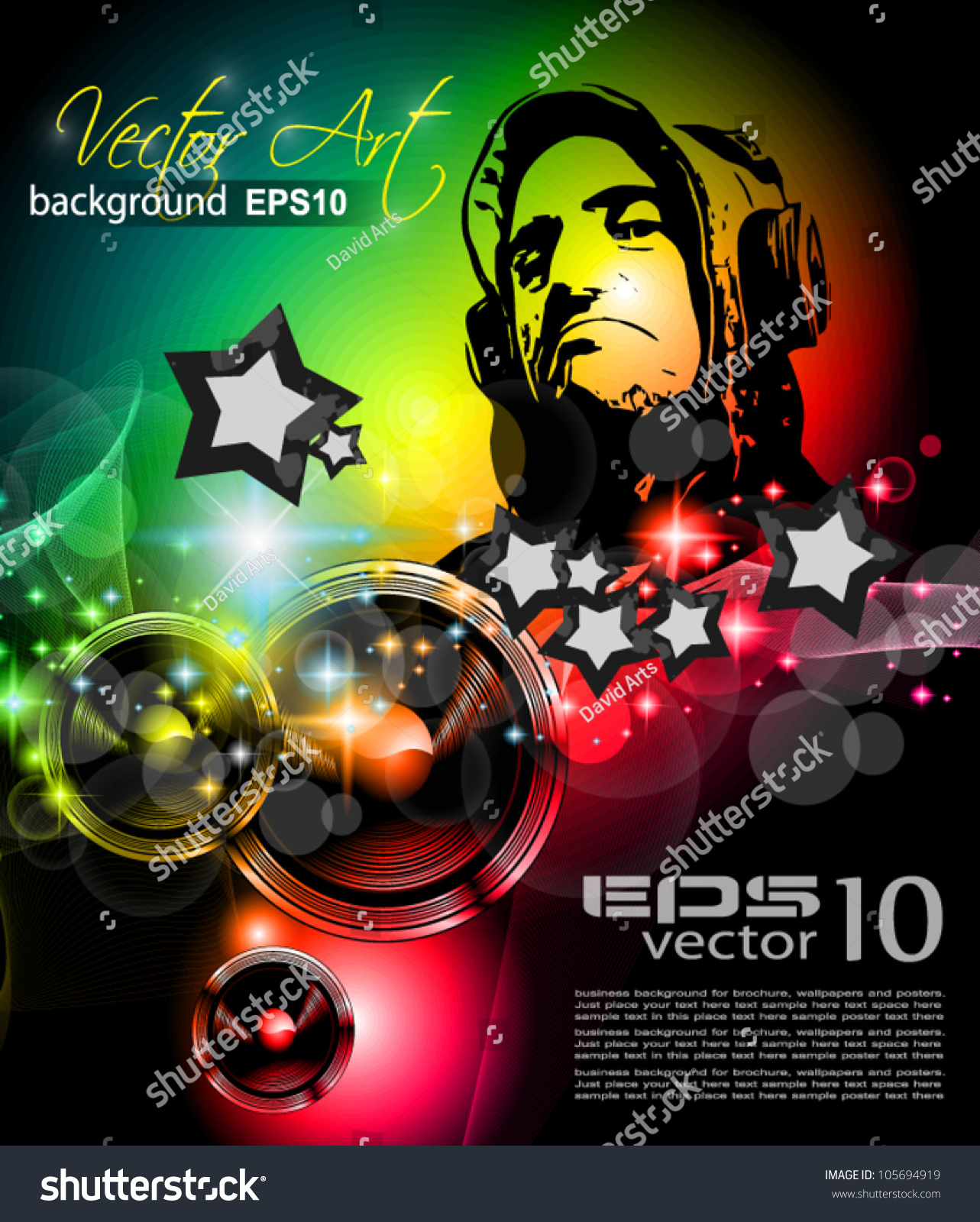 Music Club Background Disco Flyer Attractive Stock Vector Royalty