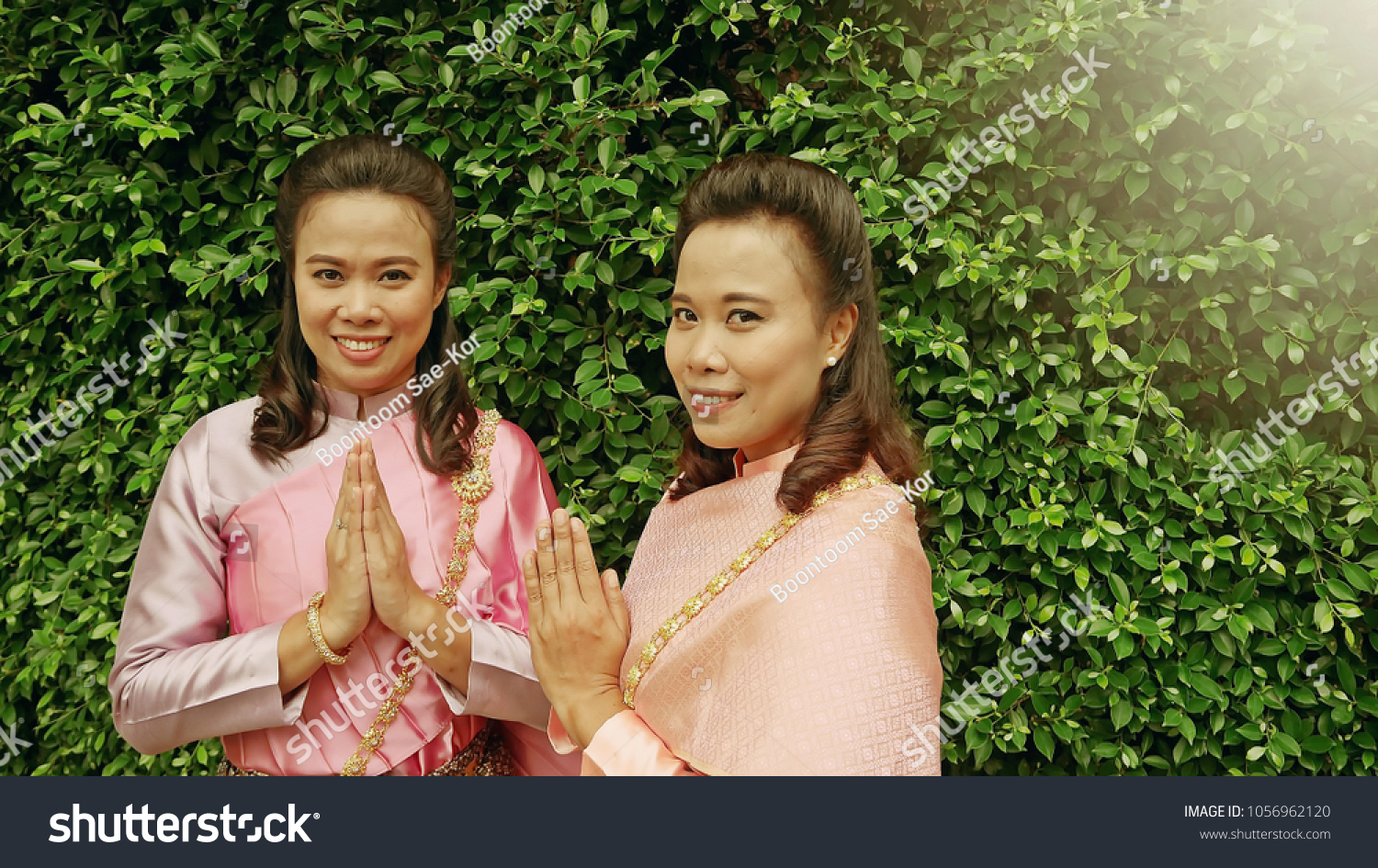 Songkran Welcome Thailand Concept Twin Sisters Stock Photo Royalty