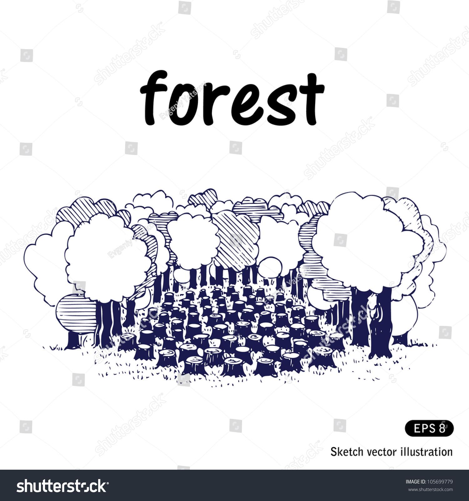 Deforestation pencil drawing