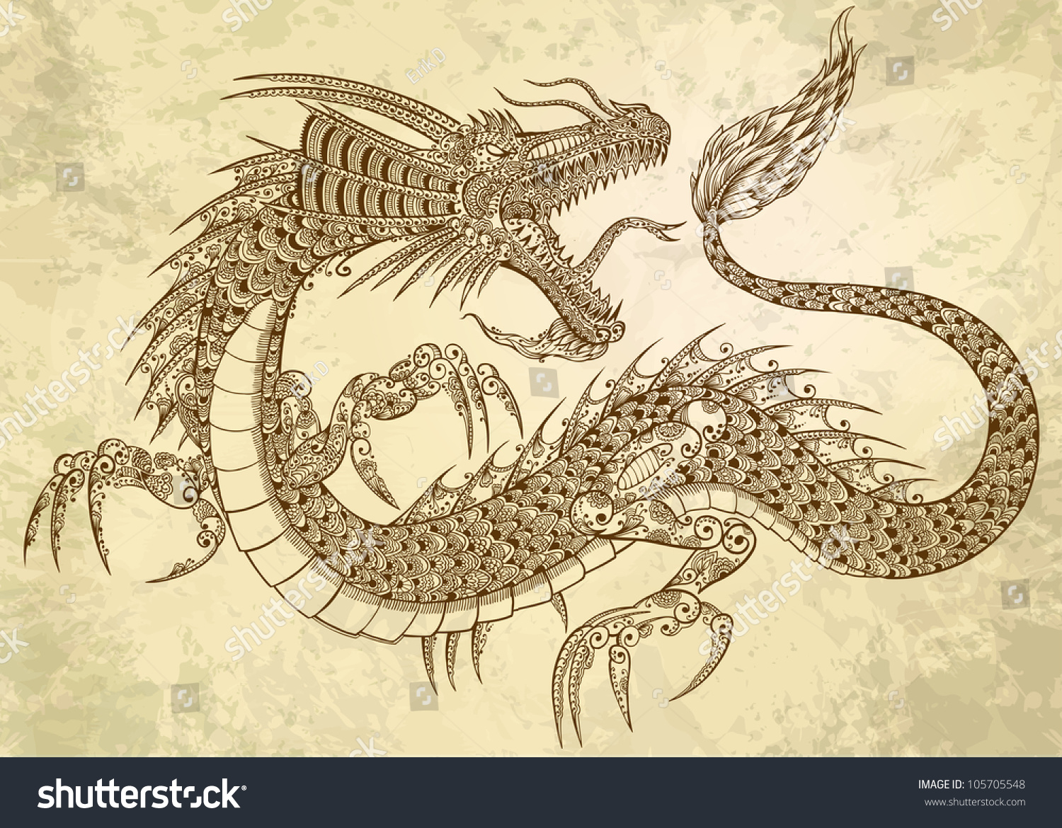 Henna tattoo dragon doodle sketch tribal stock vector for Henna tattoo art