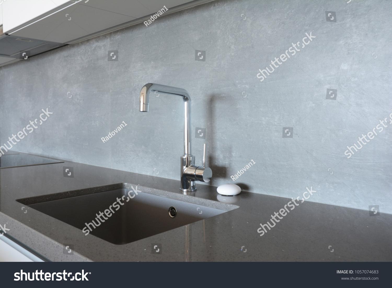 Modern Kitchen Metal Faucet Ceramic Kitchen Stock Photo (Download ...