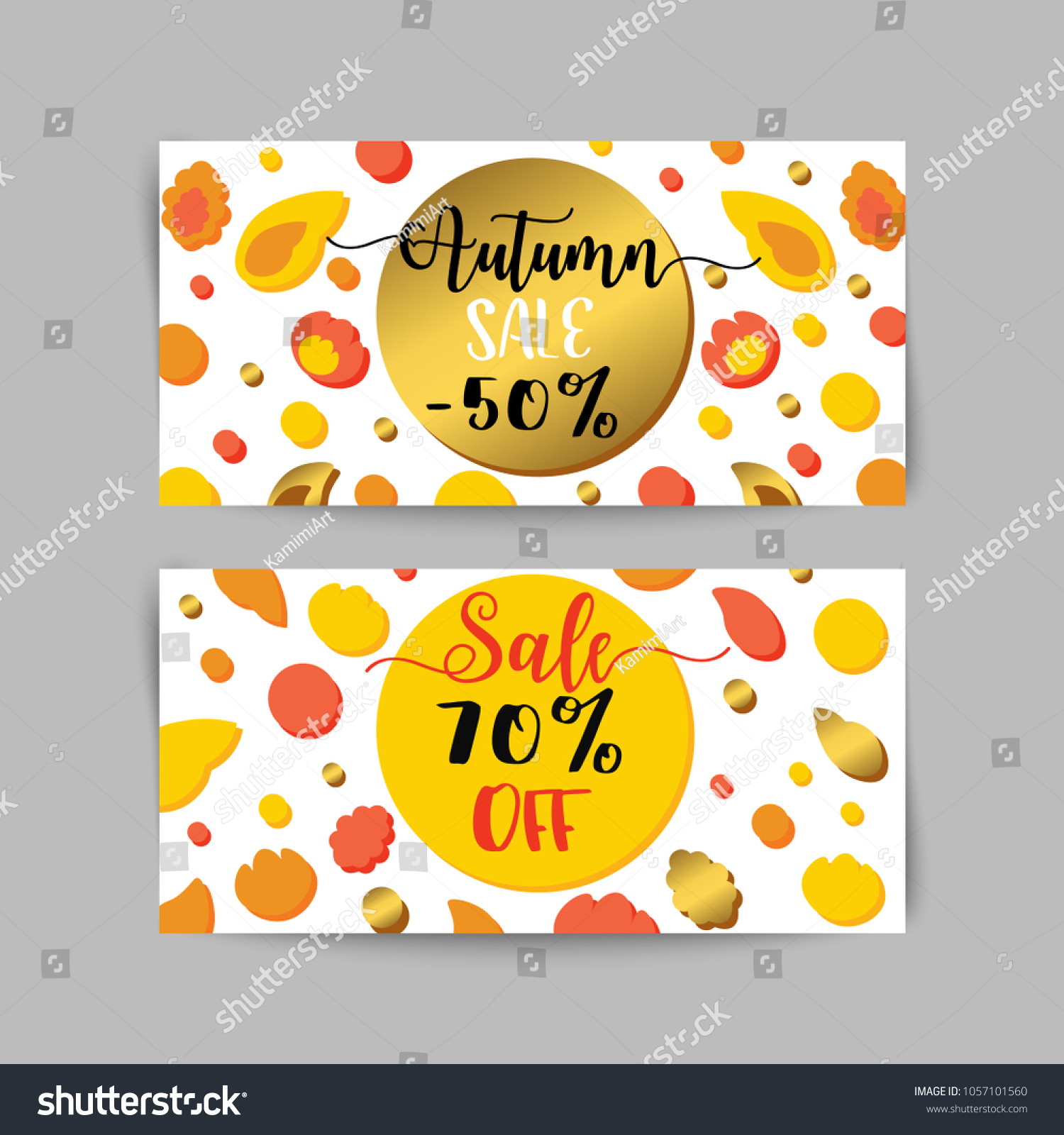 autumn sale banners ads web template stock illustration 1057101560