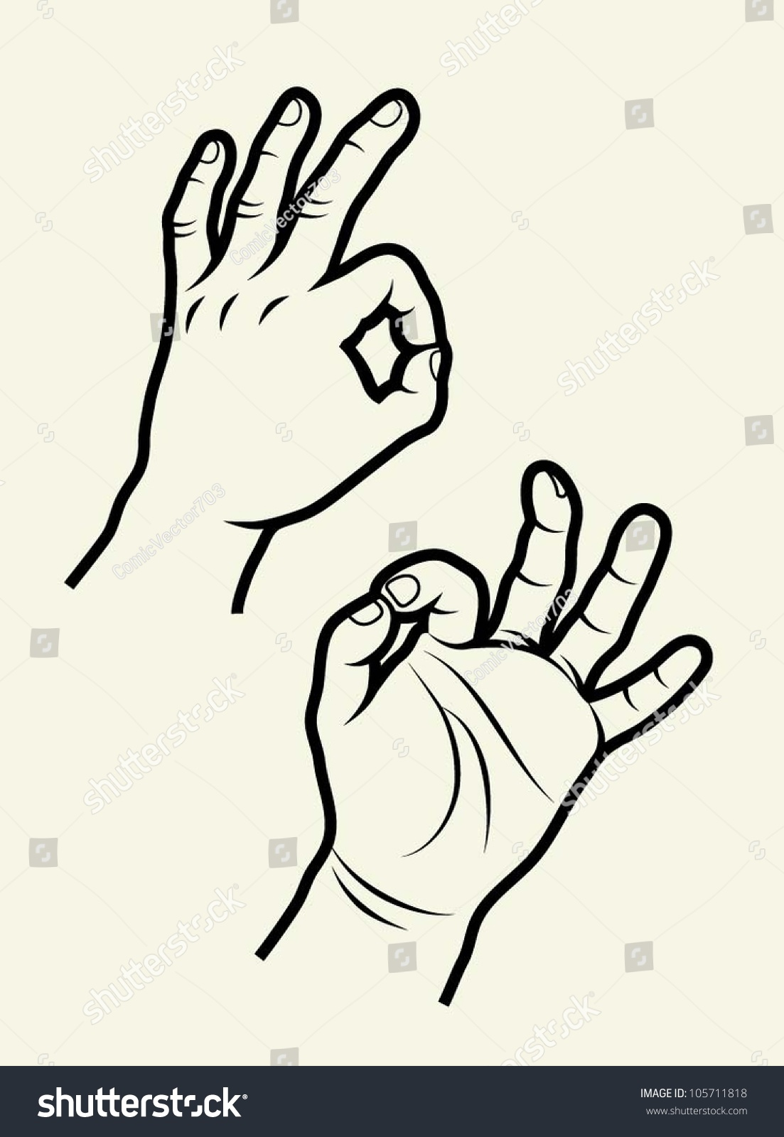 Hand Signs Vector Useful Hand Symbol Stock Vector 105711818