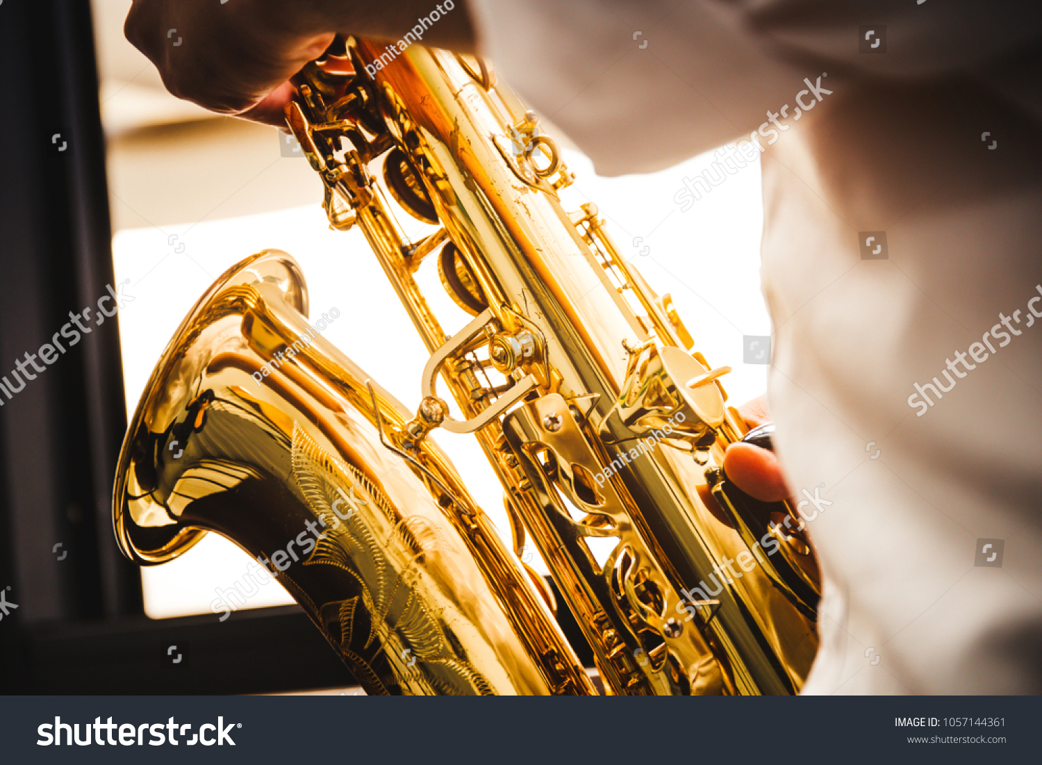 Selective Soft Focushands Saxophonist Playing Saxophone Stock Photo ...