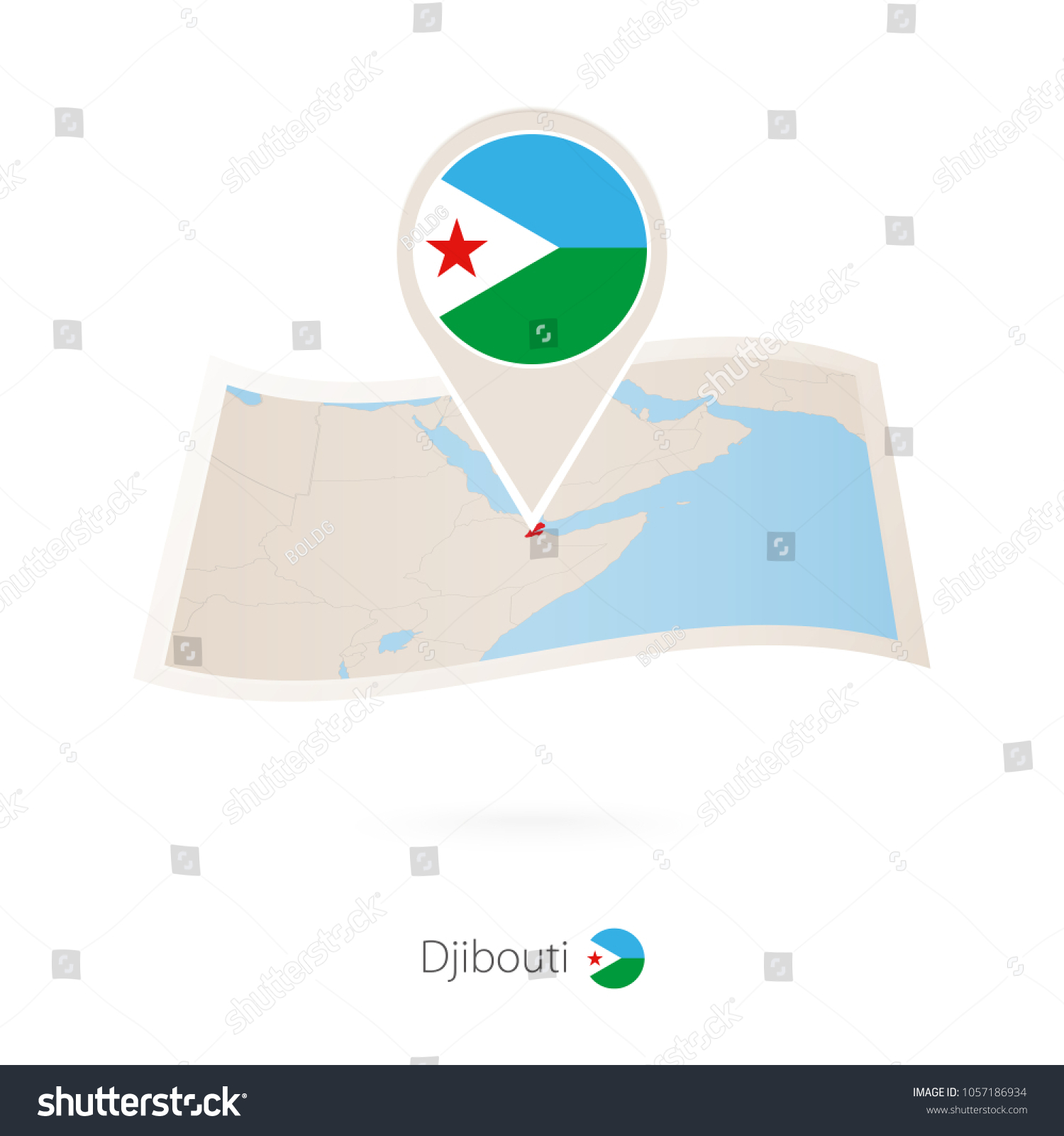 folded paper map djibouti flag pin stock vector 1057186934 rh shutterstock com Veterans Flag Folded Folded Flag Presentation