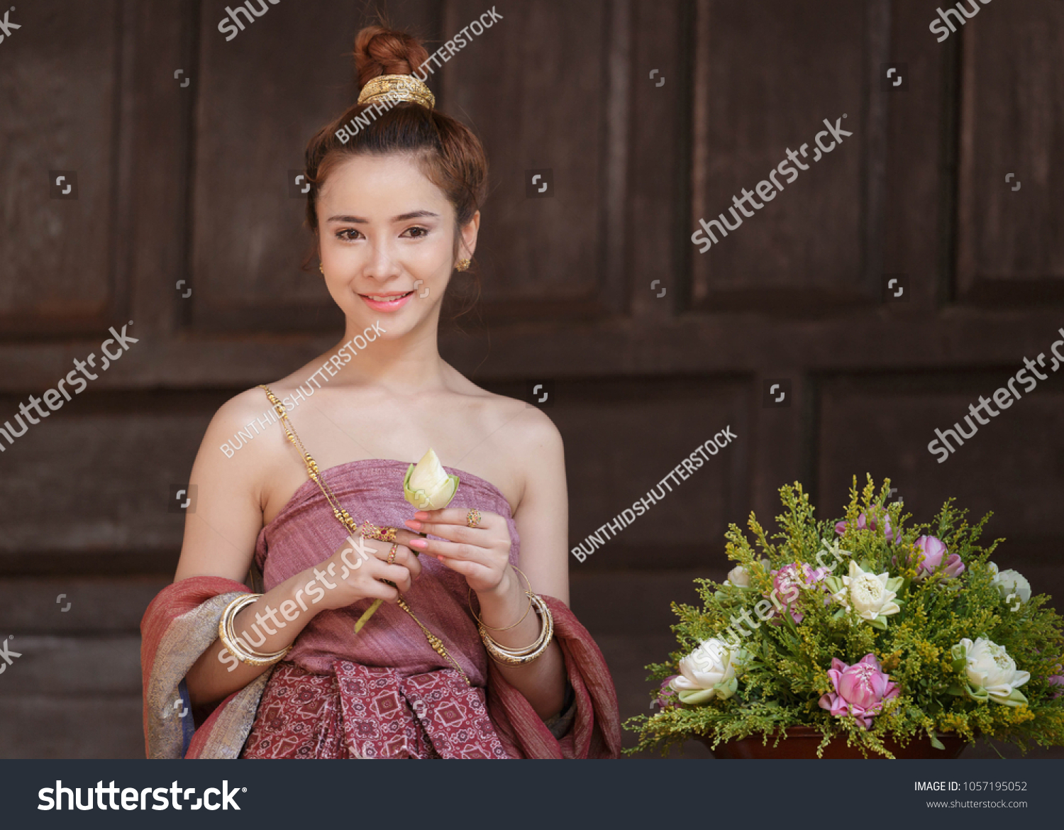 Thai Lady Thai Dress Sitting On Stock Photo Edit Now 1057195052