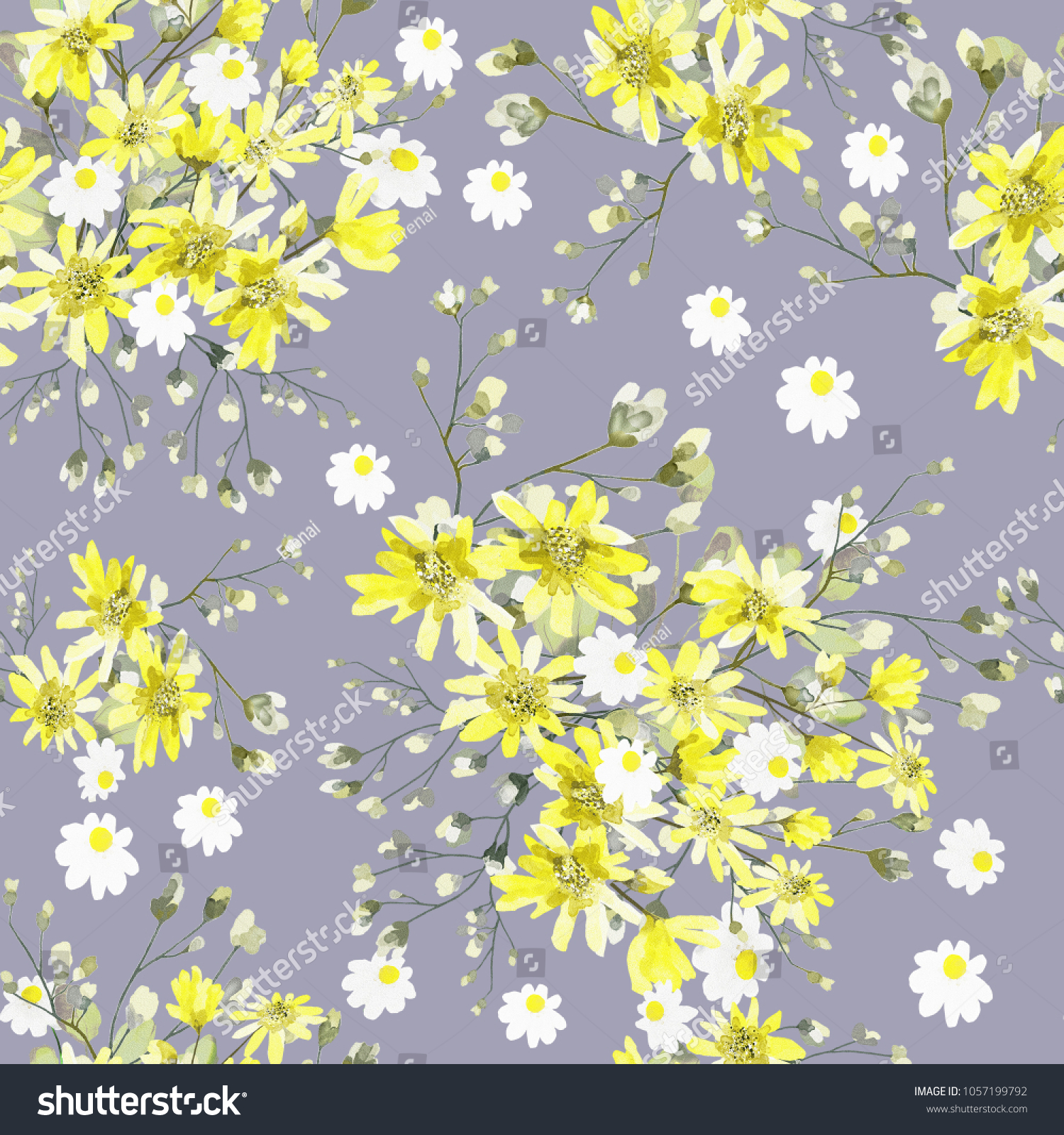 Seamless Pattern Leaves Yellow Flowers Floral Stock Illustration