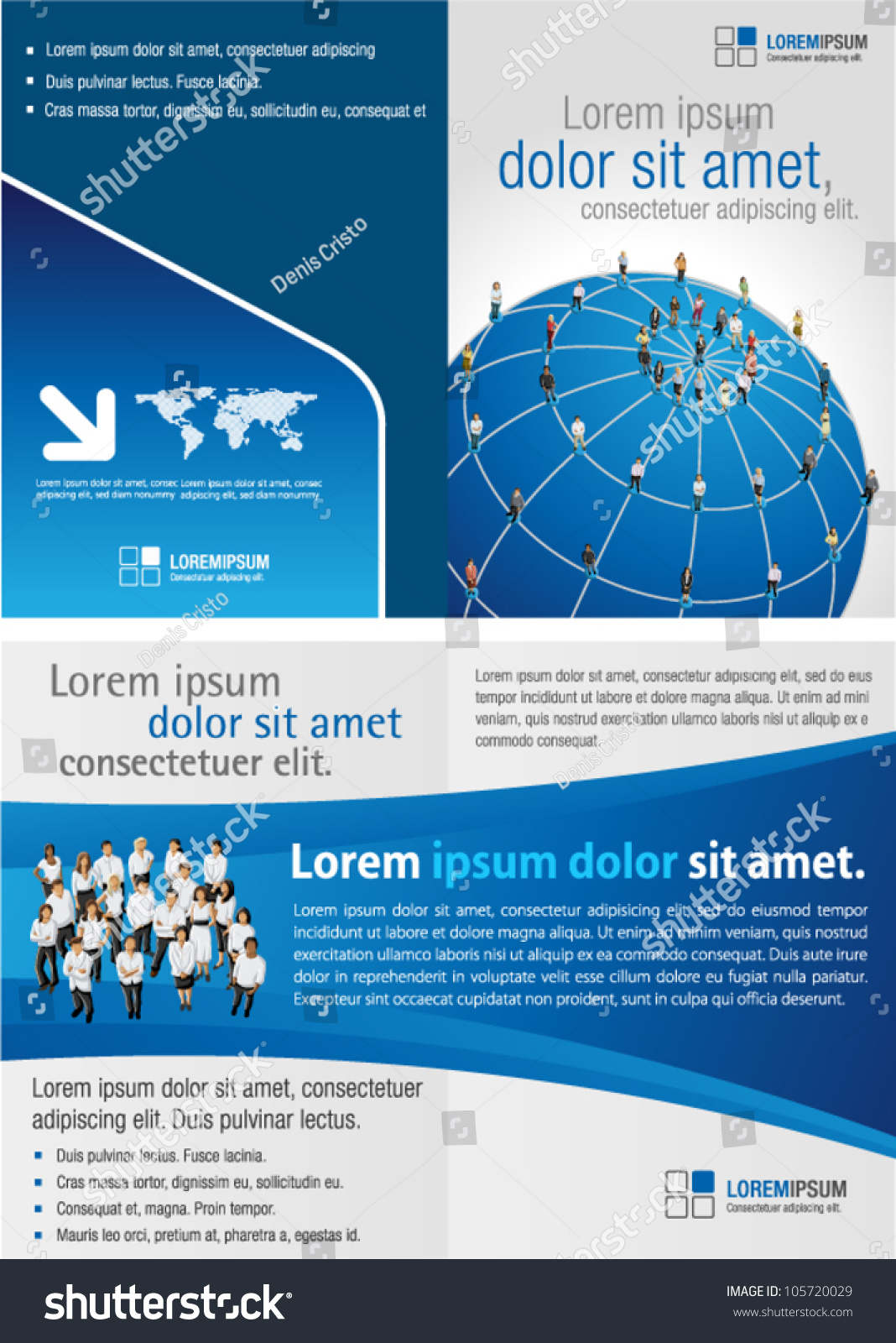 Blue Template Advertising Brochure Connected People Stock Photo ...