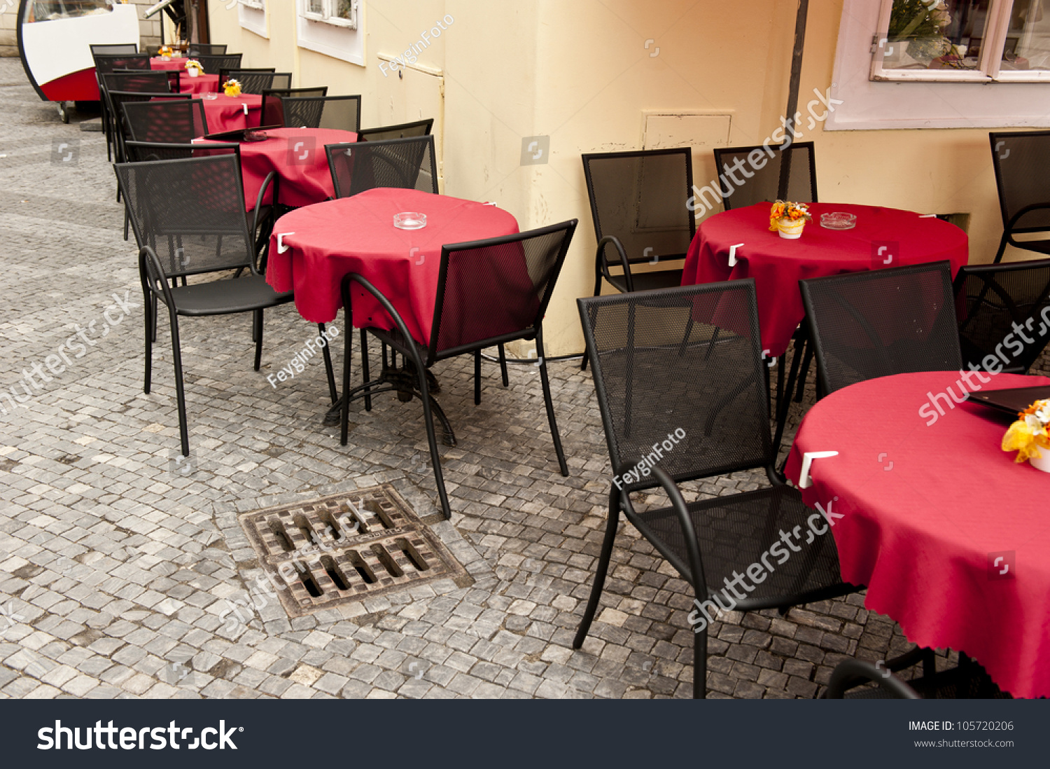 Patio Setup A Color Of Restaurant Patio Setup Stock Photo
