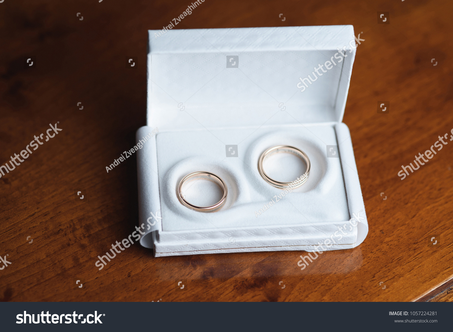 Wedding Rings White Gift Box On Stock Photo Edit Now 1057224281