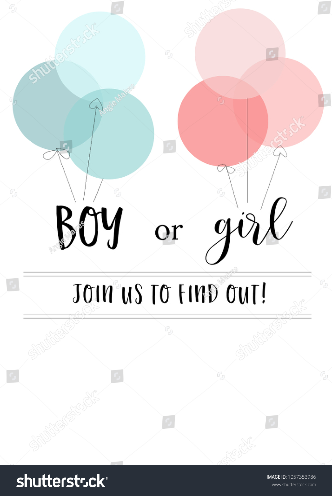 Blank gender reveal invitation template pink stock illustration blank gender reveal invitation template with pink and blue balloons stopboris Images