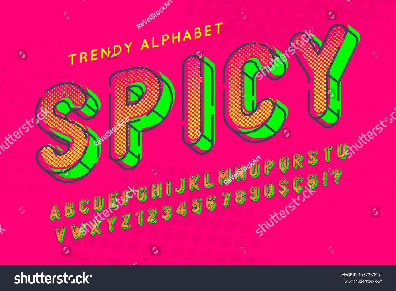 Condensed Display Font Popart Design Alphabet Stock Vector (Royalty ...