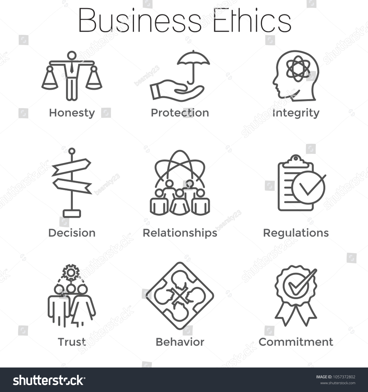 Business ethics outline icon set honesty stock vector 1057372802 business ethics outline icon set with honesty integrity commitment and decision biocorpaavc Image collections
