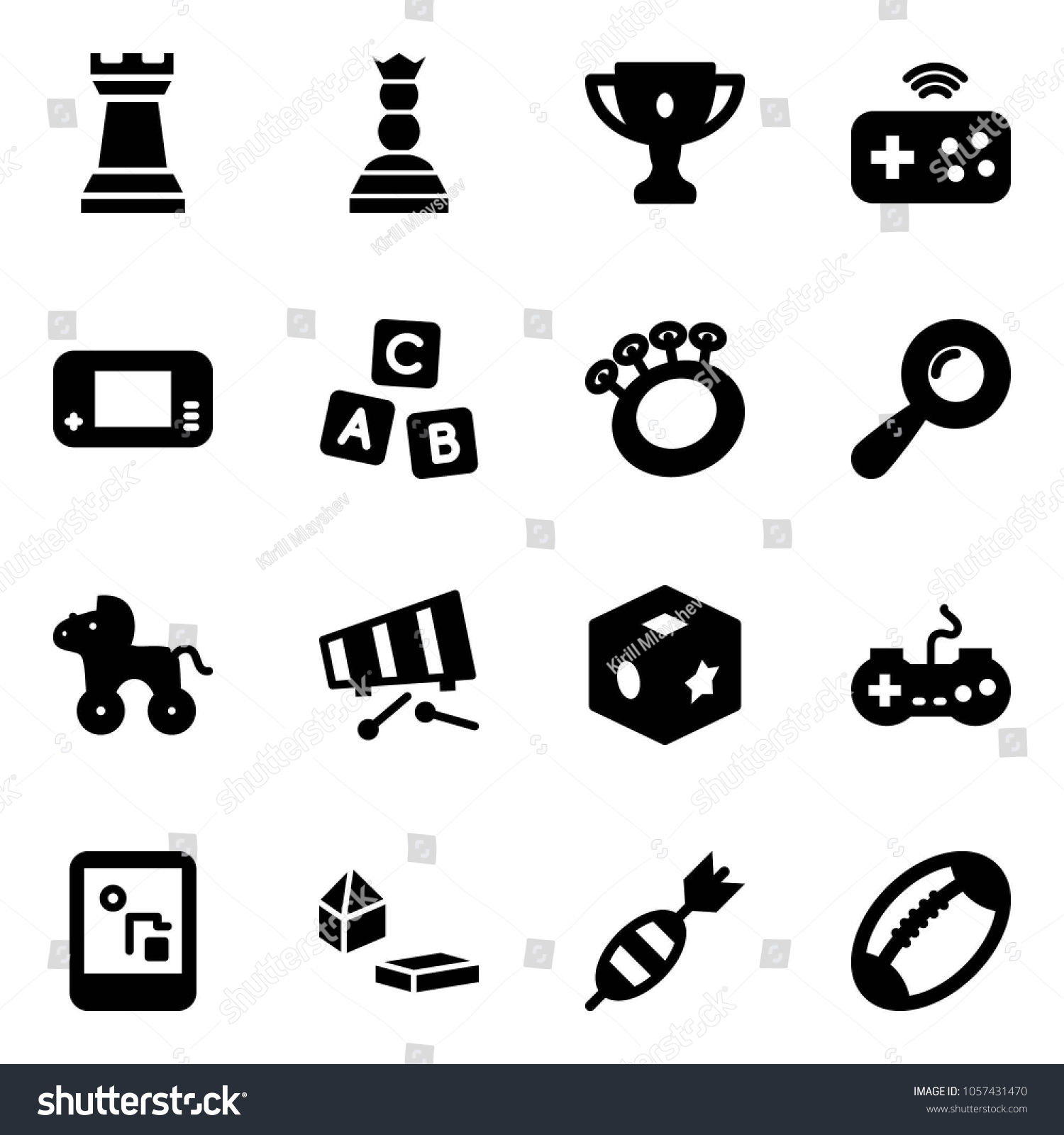Solid Vector Icon Set Chess Tower Stock Vector (Royalty Free ... on