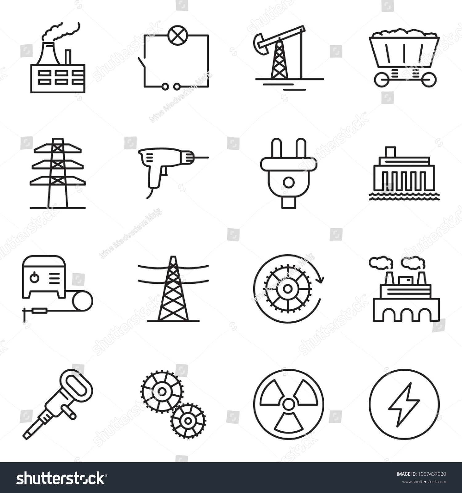 Thin Line Icon Set Oil Jack Stock Vector Royalty Free 1057437920 Hydroelectric Power Plant Schematic Diagram Factory Drill Wiring Jackhammer