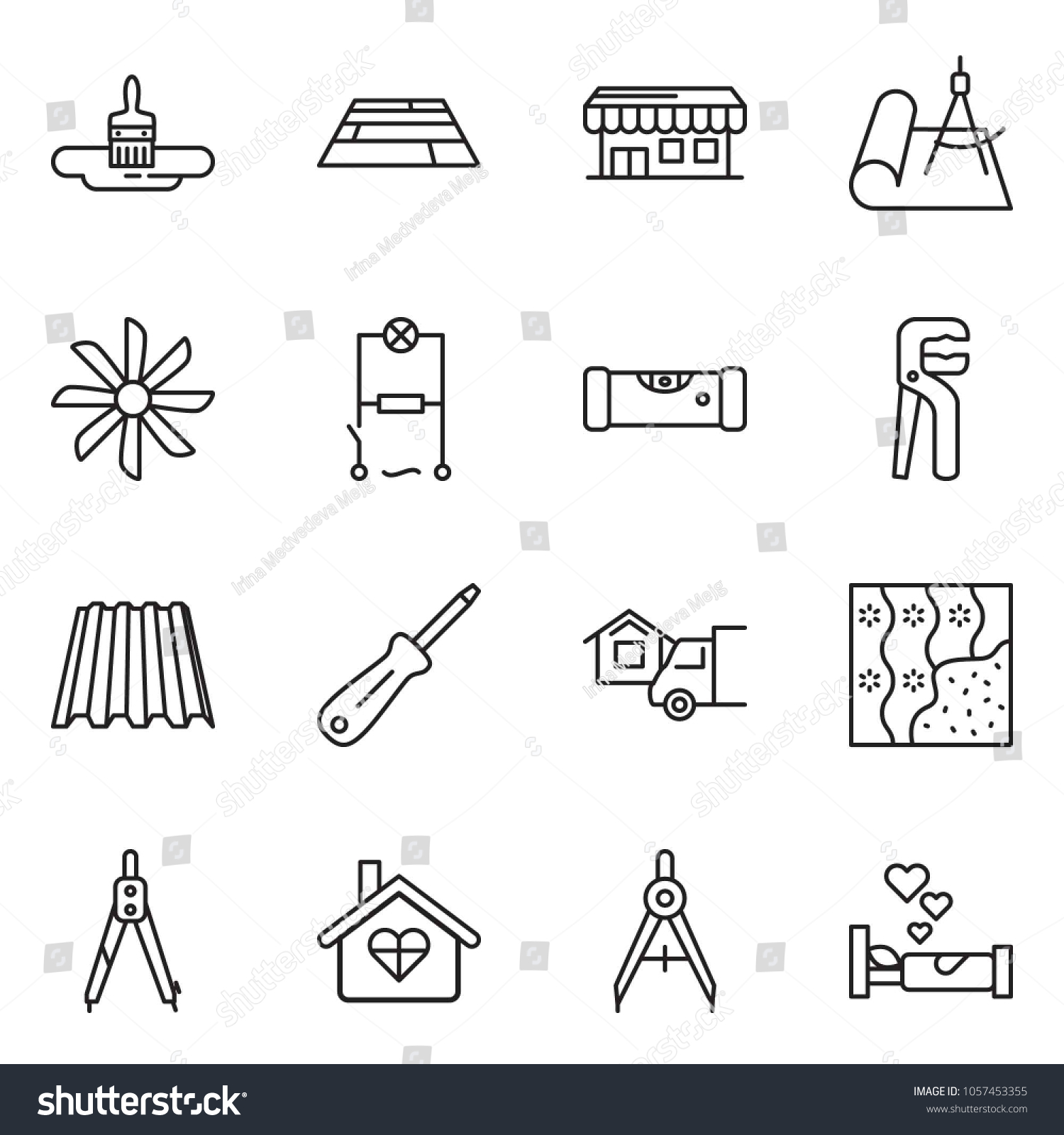 Thin Line Icon Set Home Delivery Stock Vector Royalty Free Office Wiring Diagram Building Brush