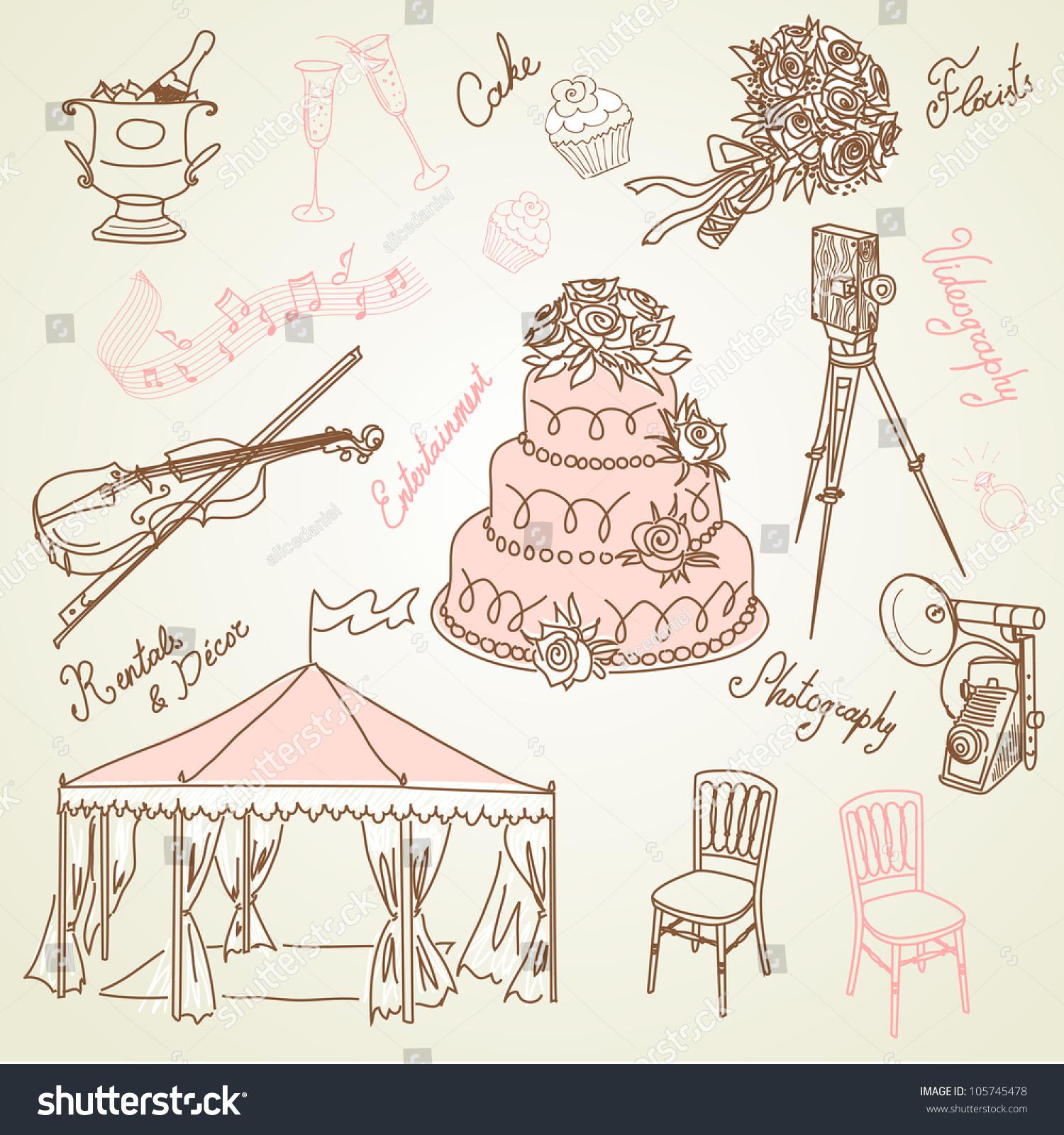 Set Of Beautiful Wedding Doodles. Everything That You Need