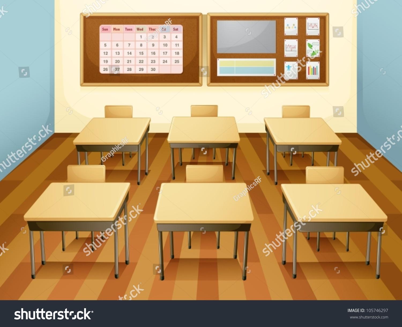 Modern Classroom Vector ~ Illustration classroom table chairs stock vector