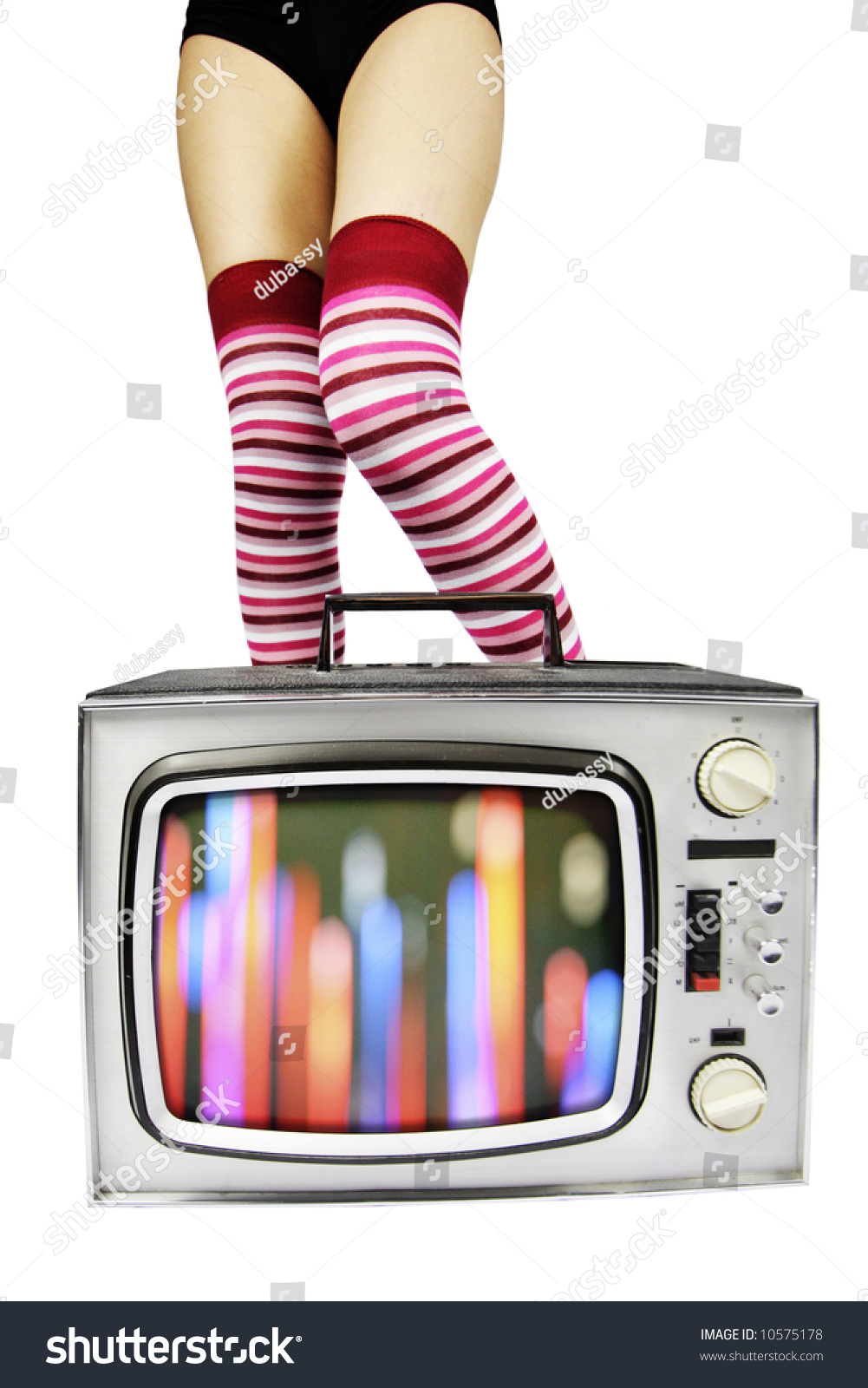 sexy legs with long socks behind retro tv