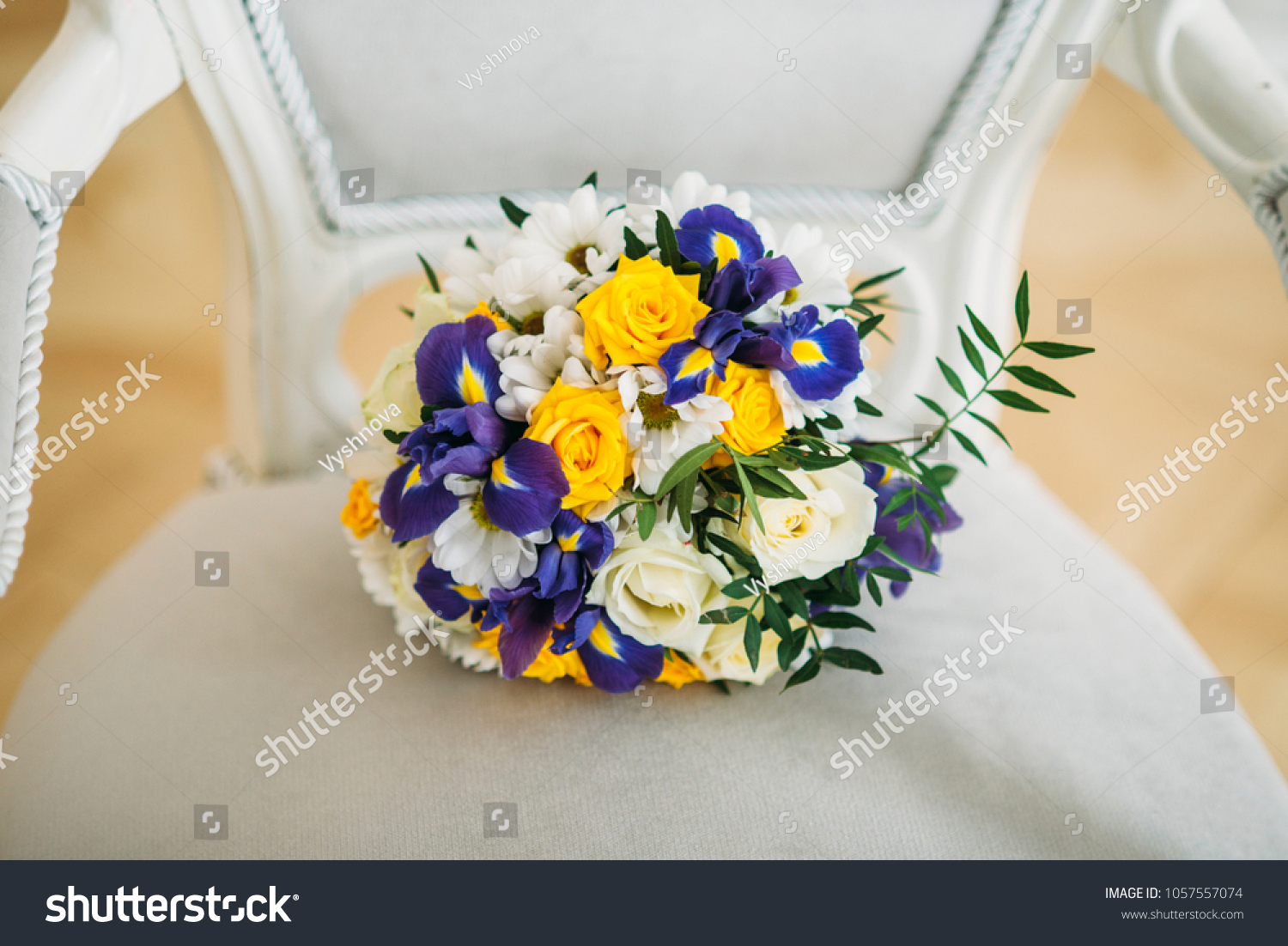 Lilac Violet Iris White Yellow Roses Stock Photo Edit Now 1057557074
