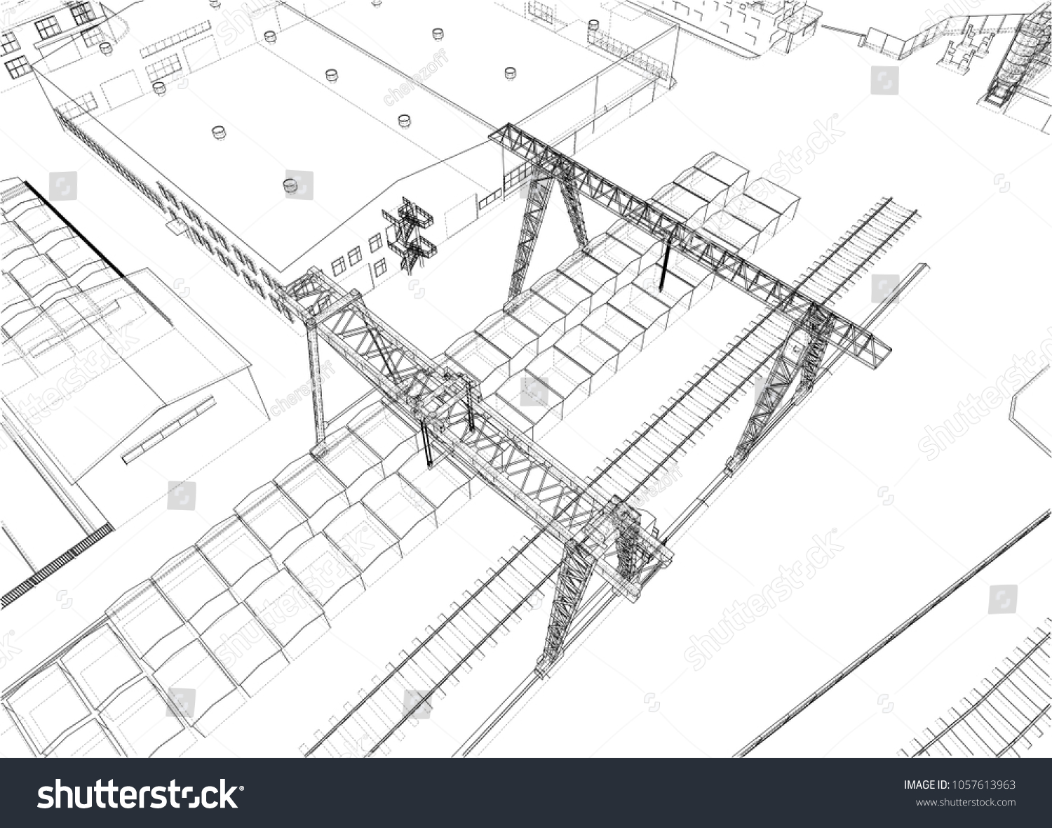 Industrial Buildings Outline Wireframe Style 3 D Stock Illustration Wiring Building Circuit Diagram Wire Frame 3d
