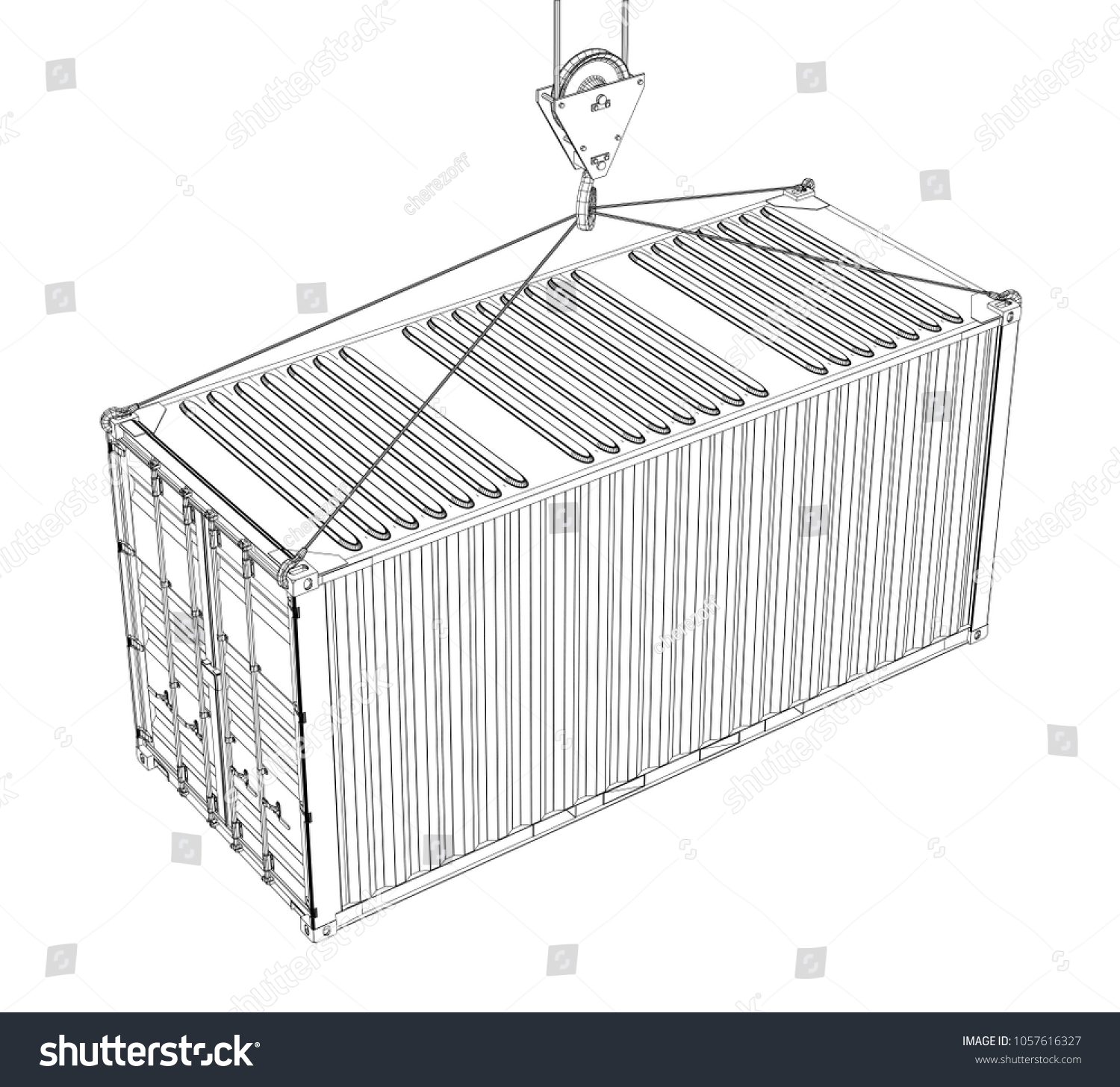 Cargo Container On White Background Wireframe Stock Illustration Shipping Wiring Diagram Wire Frame Style 3d