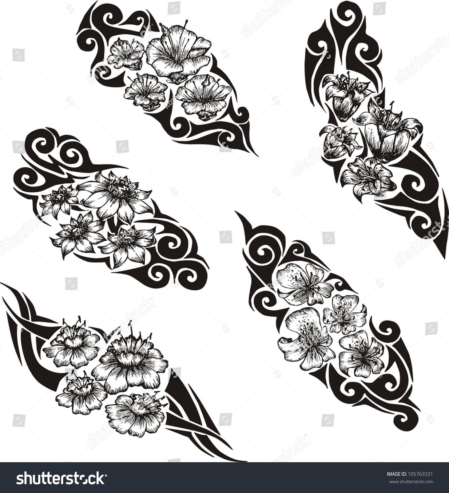 Tribal Flower Tattoos Set Black White Stock Vector Royalty Free