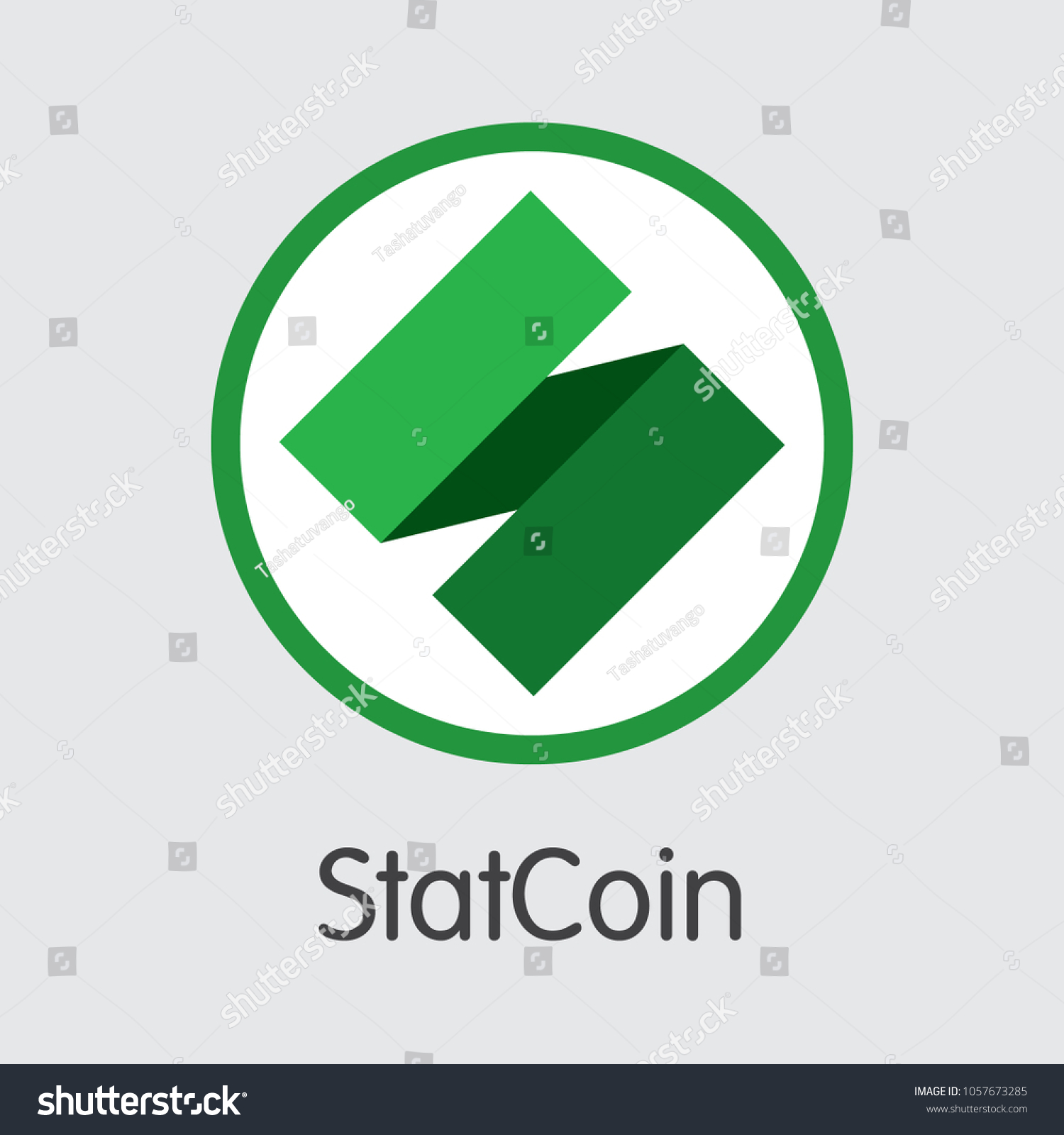 Statcoin Cryptocurrency Concept Colored Vector Icon Stock Vector