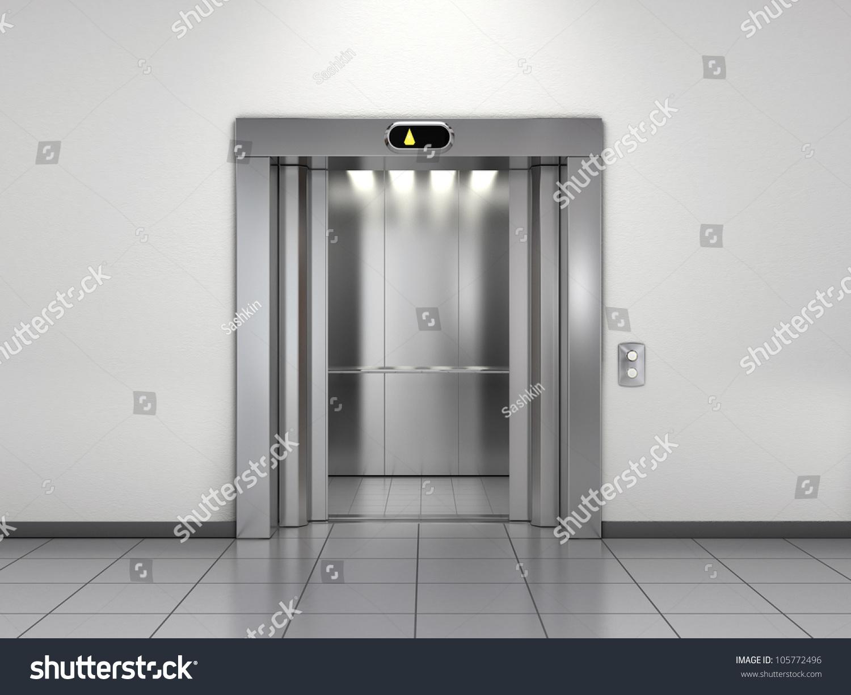 Modern elevator open doors stock illustration 105772496 for Modern home elevators