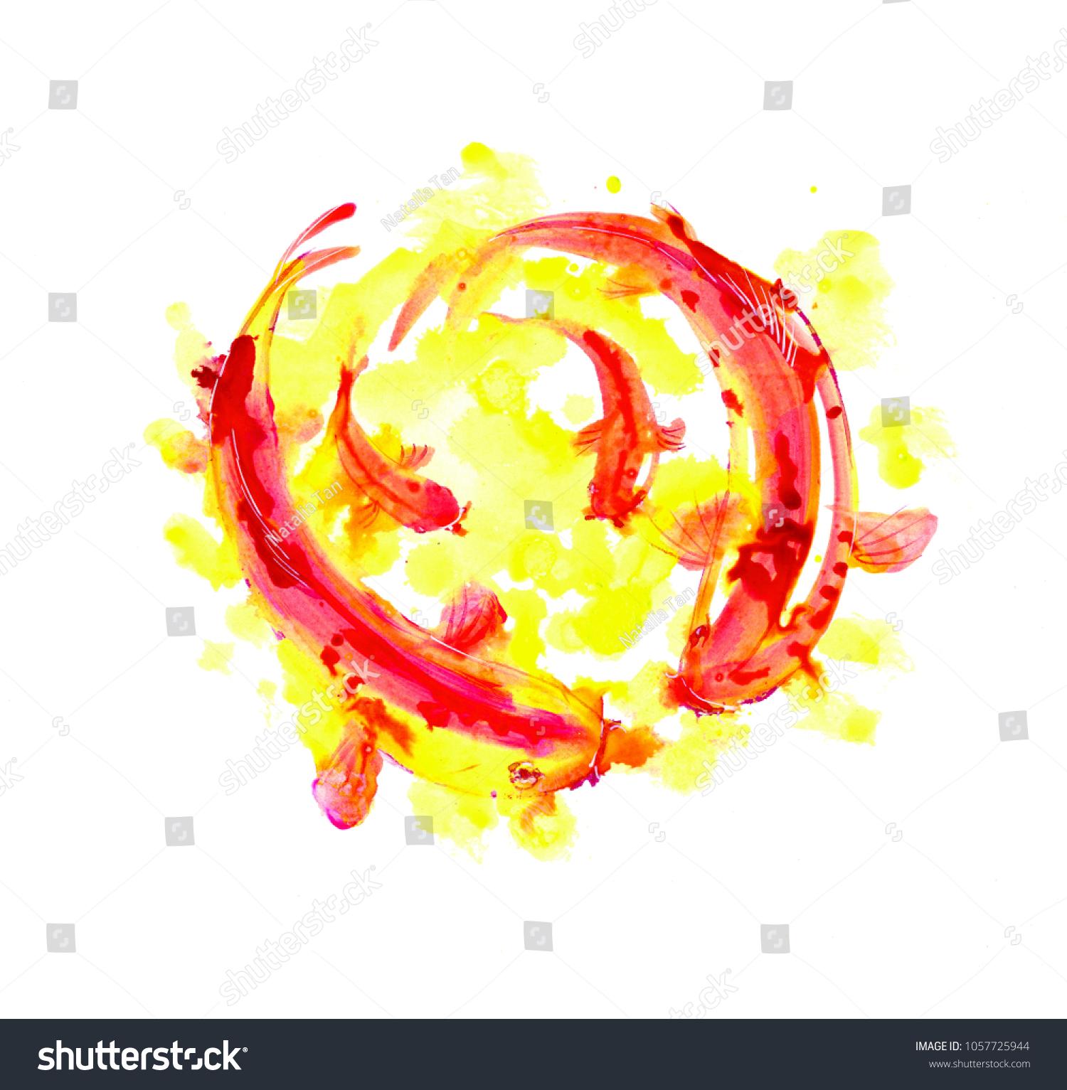Japanese Koi Fish Watercolor Illustration Splash Stock Illustration 1057725944