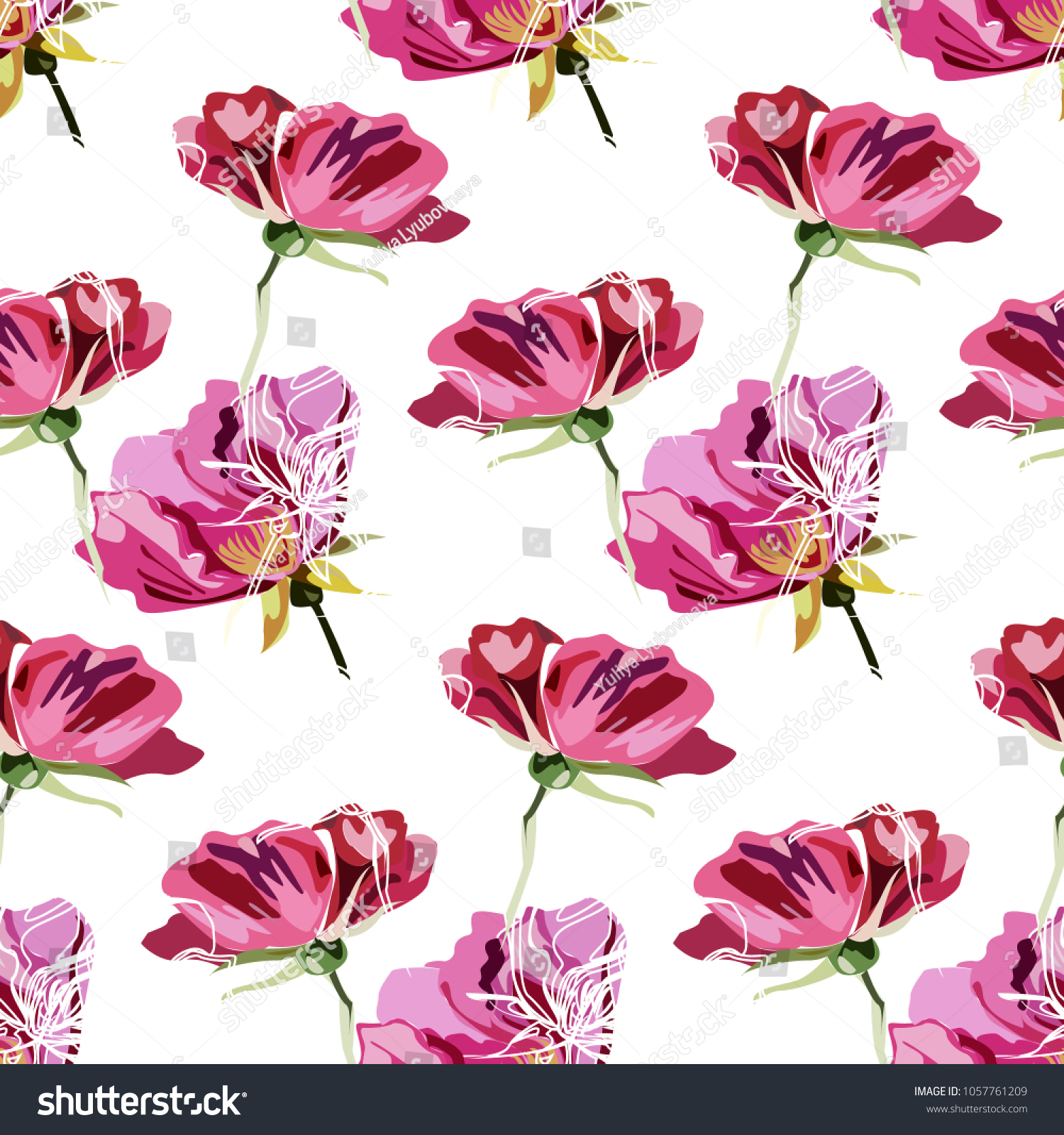 Colourful Pattern With Vintage Roses And Peons Modern Pattern With