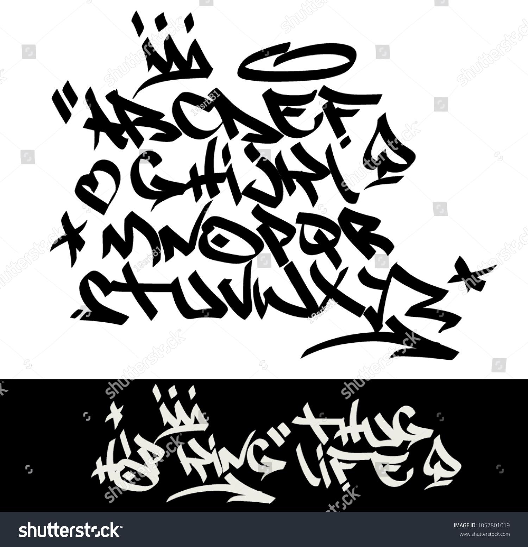 Marker graffiti tagging font and signs crown heart stars arrow dot