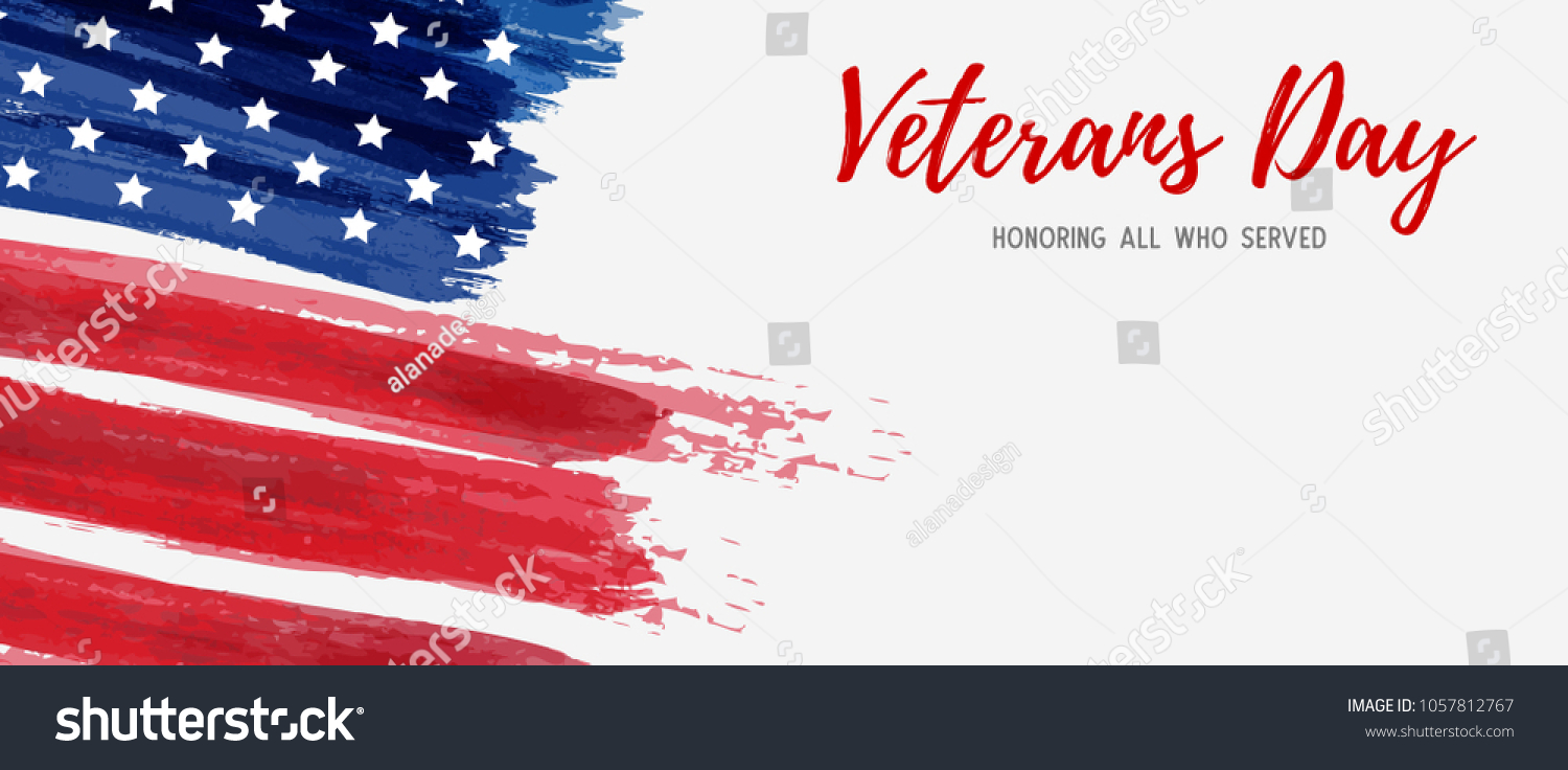 USA Veterans day background. Vector abstract grunge brushed flag with text. Template for horizontal banner. #1057812767
