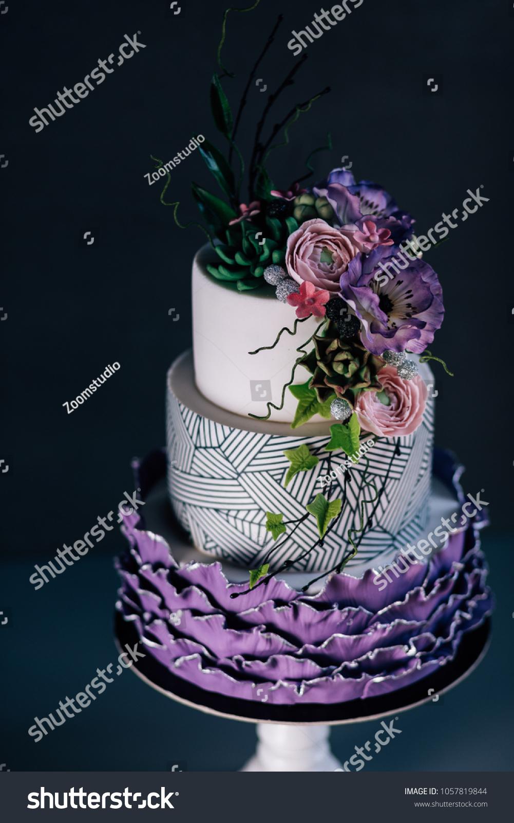 White Wedding Cake Purple Flower Detailpurple Stock Photo Edit Now 1057819844