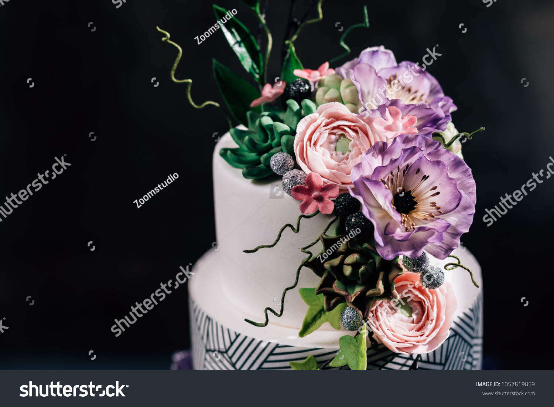Purple Happy Birthday Cake Beautiful Flowers Stock Photo Edit Now