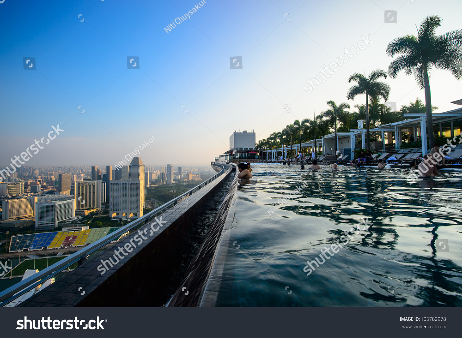 Singapore April 5 Swimming Pool Of The Marina Bay Sands