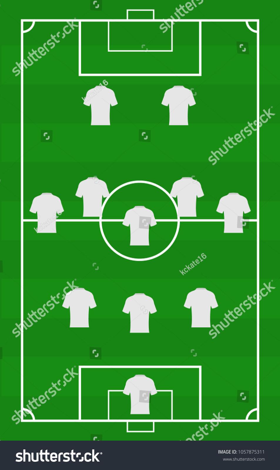 Vector Soccer Field Arrangement Players Game Position Stock Vector
