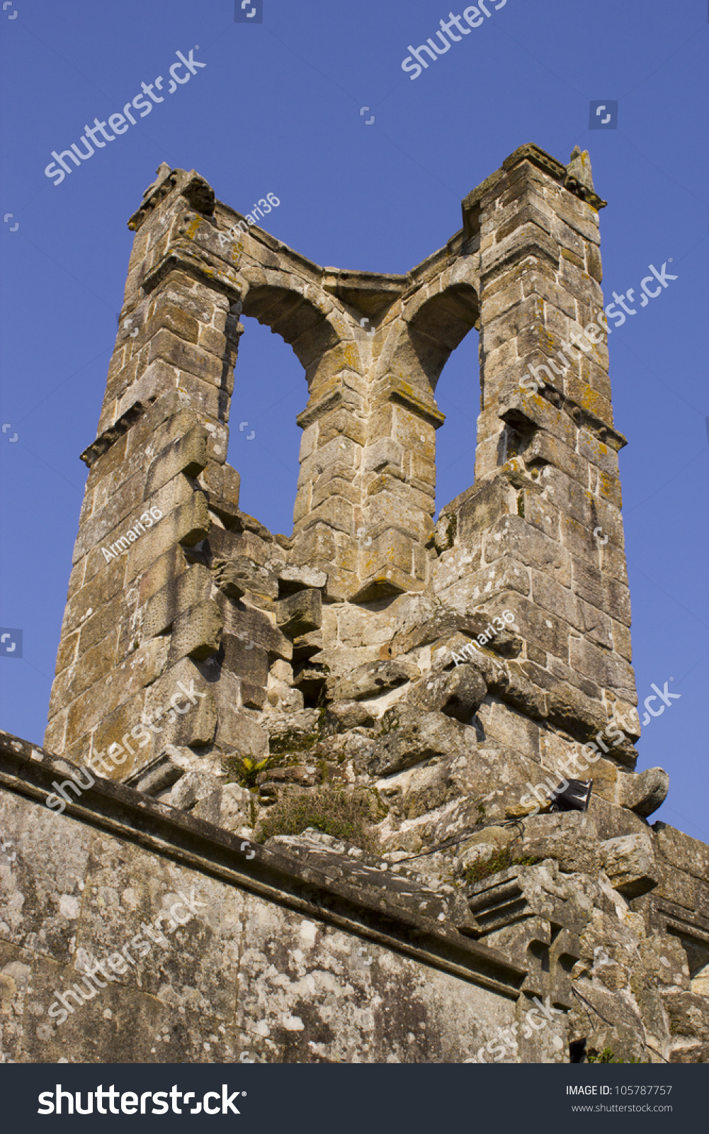 old ruined tower belonging to a fifteenth century church #105787757