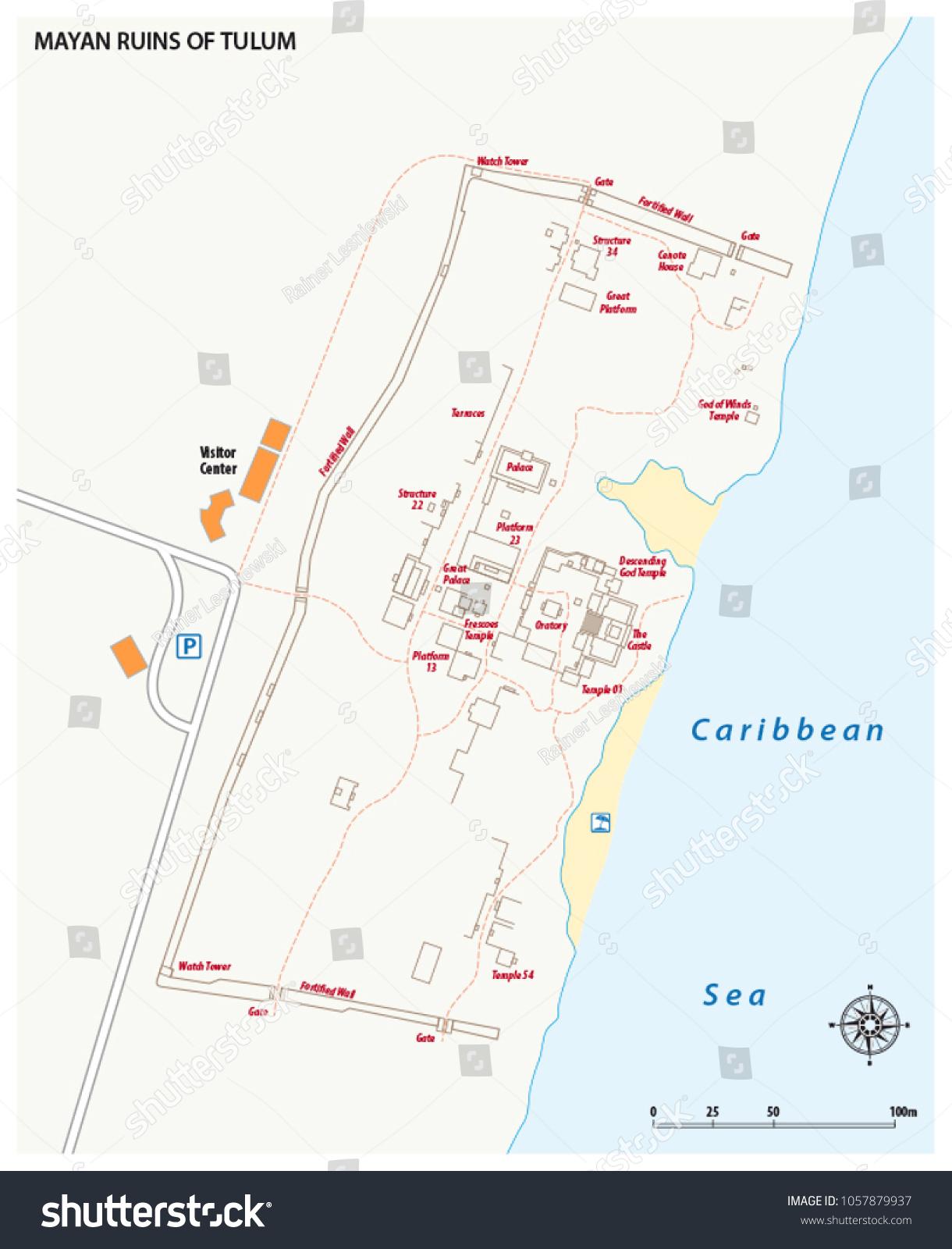 Vector Map Mayan Ruins Tulum Mexico Stock Vector Royalty Free