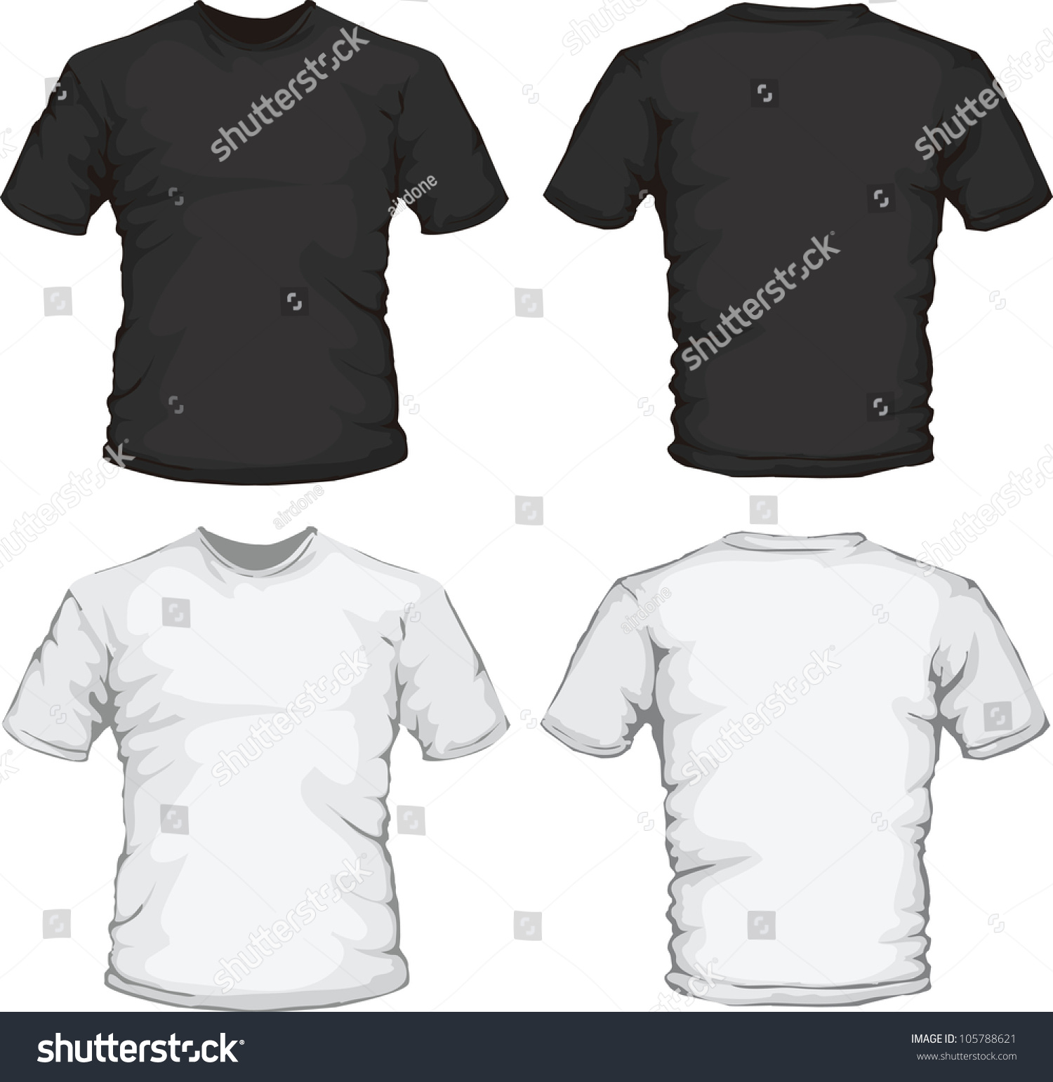 Black t shirt back and front template - Vector Illustration Of Black And White Male Shirts Template Front And Back Design Check