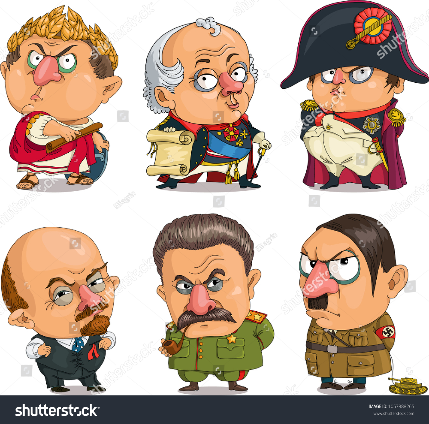 The comic caricature. Vector. Travesty cartoon. Characters.  Isolated objects. A set of famous historical leaders. The generals. Suvorov, Napoleon, Caesar, Lenin, Stalin, Hitler.