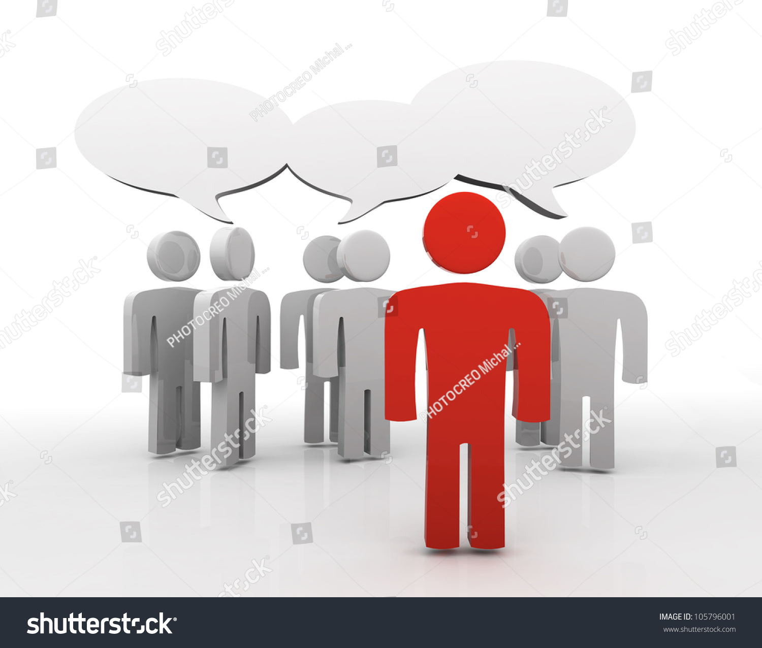 People Having Discussion Blank Speech Bubbles Stock